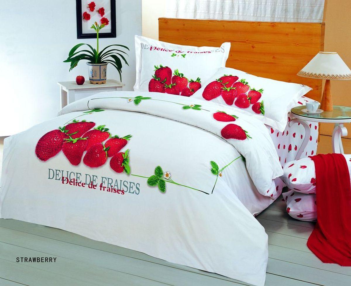 Комплект белья Le Vele Strawberry, 1,5-спальный, наволочки 50х70S03301004Комплект постельного белья Le Vele Strawberry, выполненный из сатина (100% хлопка), создан для комфорта и роскоши. Комплект состоит из пододеяльника, простыни и 2 наволочек. Постельное белье оформлено оригинальным рисунком. Пододеяльник застегивается на кнопки, что позволяет одеялу не выпадать из него.Сатин - хлопчатобумажная ткань полотняного переплетения, одна из самых красивых, прочных и приятных телу тканей, изготовленных из натурального волокна. Благодаря своей шелковистости и блеску сатин называют хлопковым шелком.