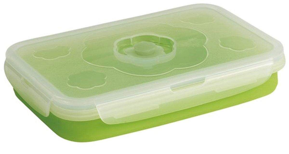 Контейнер Outwell Collaps Food Box L, цвет: зеленый, прозрачный, 20 х 13 х 11 см10025Складной силиконовый контейнер Axon для еды станет вашим надежным помощником на кухне. Контейнер абсолютно герметичен. Пластиковая крышка оснащена четырьмя специальными защелками и выпускным клапаном. Силикон не впитывает запахи.Используйте контейнер для хранения и транспортировки любых пищевых продуктов: салатов, овощей, фруктов, соусов, мясных и рыбных блюд. Контейнер позволяет разогревать продукты в микроволновке, но без крышки, и замораживать в морозилке. После использования контейнер можно просто сложить, он становится в два раза меньше по высоте.Размер в разложенном виде (с учетом крышки): 20 х 13 х 11 см.Размер в сложенном виде (с учетом крышки): 20 х 13 х 4 см.