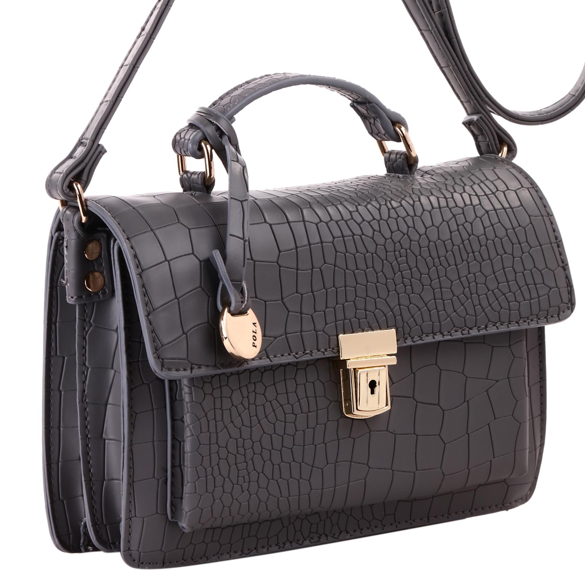 Сумка женская Pola, цвет: серый. 4395KV996OPY/MЖенская сумка на плечо фирмы Pola выполнена из экокожи. Сумка закрывается клапаном на металлическом замке-защелке. Имеет два независимых отделения, внутри - небольшой карман на молнии и один открытый карман. С внешней стороны под клапаном расположен вместительный открытый карман. Плечевой ремень несъемный, регулируемый по длине, максимальная высота 55 см.Высота ручки 5 см. Цвет фурнитуры - золото.