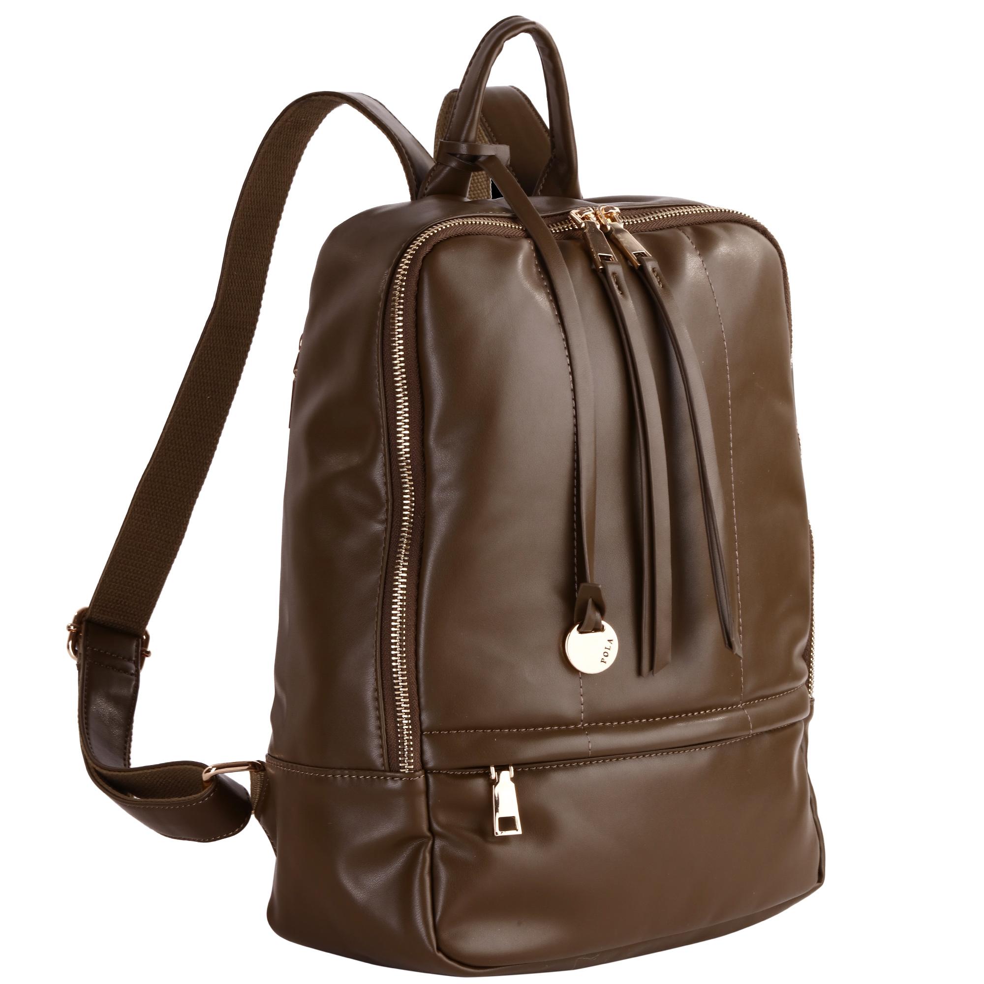 Рюкзак женский Pola, цвет: хаки. 441210130-11Стильный женский рюкзак Pola - очень практичен в повседневном использовании. Основное отделение закрывается на металлическую молнию. Внутри - два кармана на молниях и два открытых кармашка. Снаружи – карманы на молниях сзади и спереди рюкзака. Лямки регулируются по длине.Эта универсальная модель идеально подойдет как для путешествий, так и для учебы или работы, а так же позволит вам взять с собой все самое необходимое.