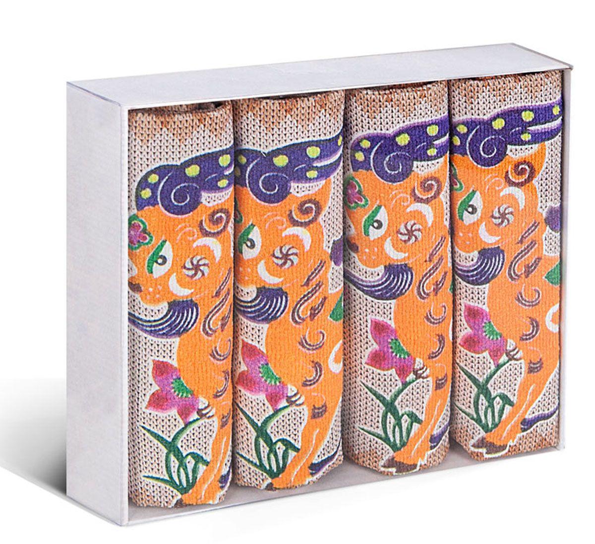 Набор кухонных полотенец Soavita, цвет: оранжевый, белый, 38 х 64 см, 4 штVT-1520(SR)Набор Soavita состоит из 4 вафельных полотенец. Изделия выполнены из микрофибры и оформлены яркими, оригинальными вышивками. Полотенца используются для протирки различных поверхностей, также широко применяются в быту.Такой набор станет отличным вариантом для практичной и современной хозяйки.Перед использованием постирать при температуре не выше 40 градусов.