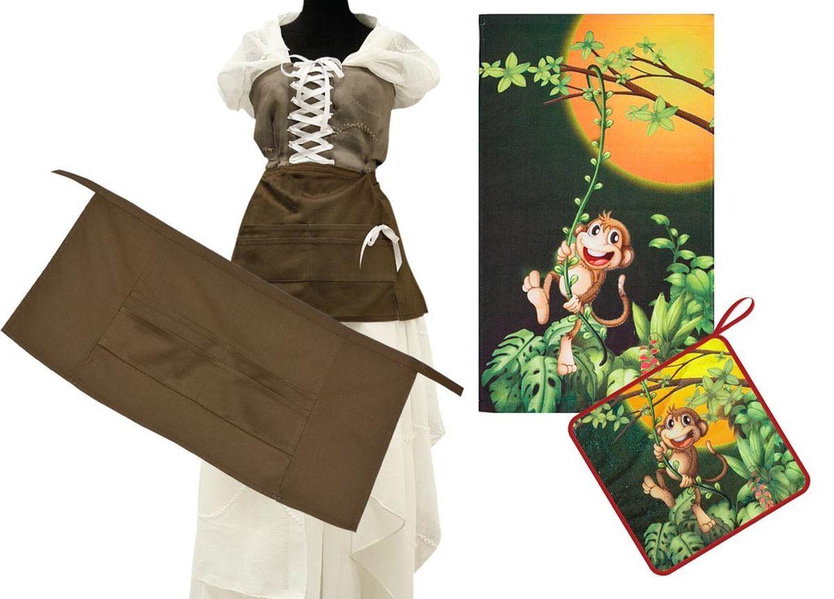 Комплект кухонный Soavita Monkey, цвет: черный, коричневый, 3 предмета504/CHAR004Комплект кухонный Soavita Monkey состоит из полотенца, салфетки и передника. Полотенце и салфетка выполнены из высококачественной микрофибры и оформлены красочным рисунком с изображением обезьянок. Салфетка по краю окантована и дополнена петелькой. Изделия быстро впитывают влагу, легко стираются и обладают длительным сроком службы. Передник с завязками на талии изготовлен из натурального хлопка и дополнен4 карманами для аксессуаров. В кухонном комплекте Soavita Monkey есть весь необходимый текстиль для кухни. Такой набор порадует вас практичностью и функциональностью, а стильный яркий дизайн гармонично дополнит интерьер кухни. Размер салфетки: 30 х 30 см. Размер полотенца: 38 х 64 см. Размер передника: 67 х 32 см.