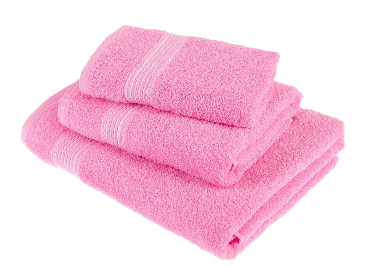 Набор полотенец Тако Текстиль, цвет: розовый, 3 шт. 8814568/5/3Перед использованием постирать при температуре не выше 40 градусов