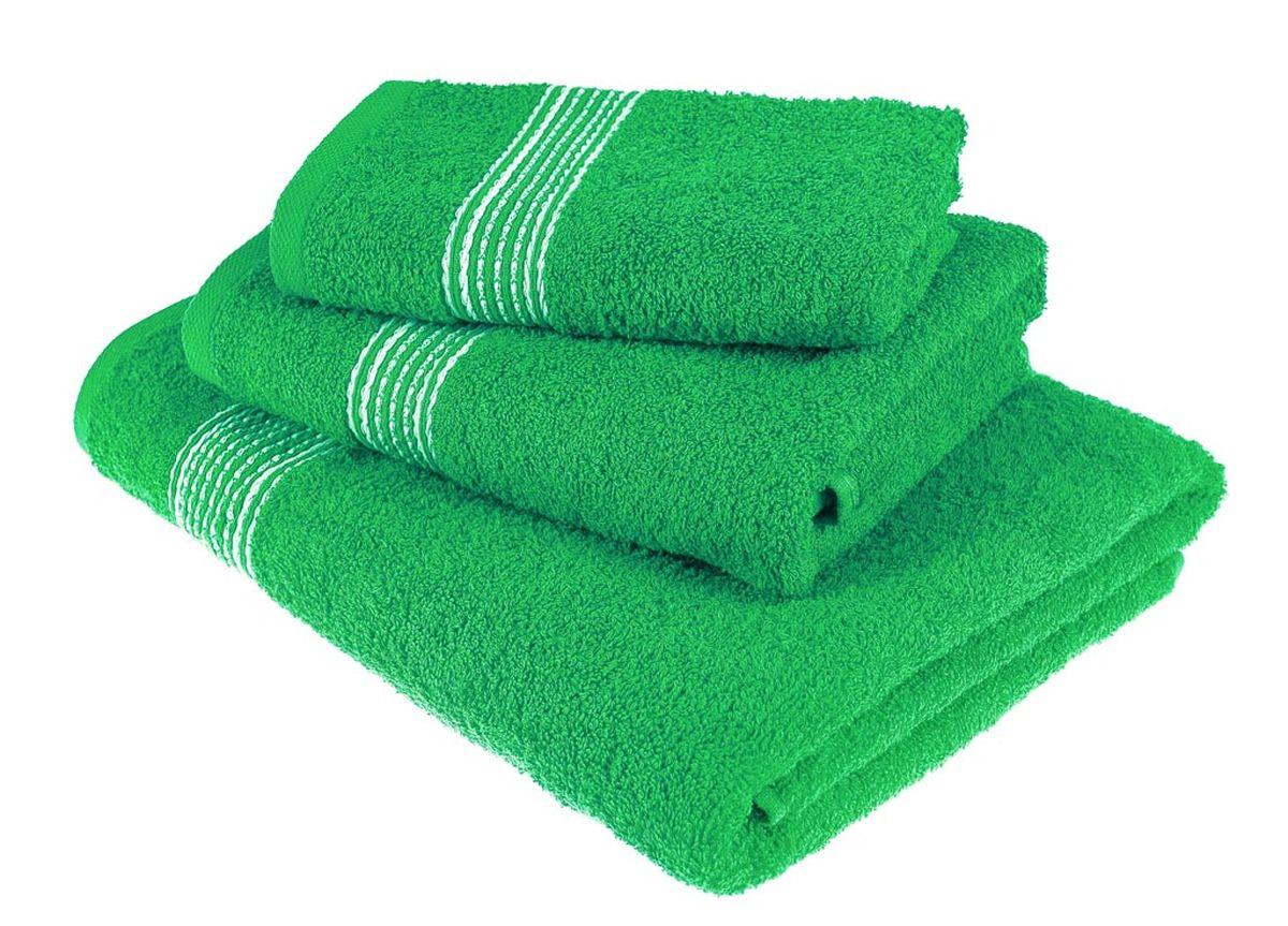 Набор полотенец Тако Текстиль, цвет: ярко-зеленый, 3 шт. 88148531-401Перед использованием постирать при температуре не выше 40 градусов