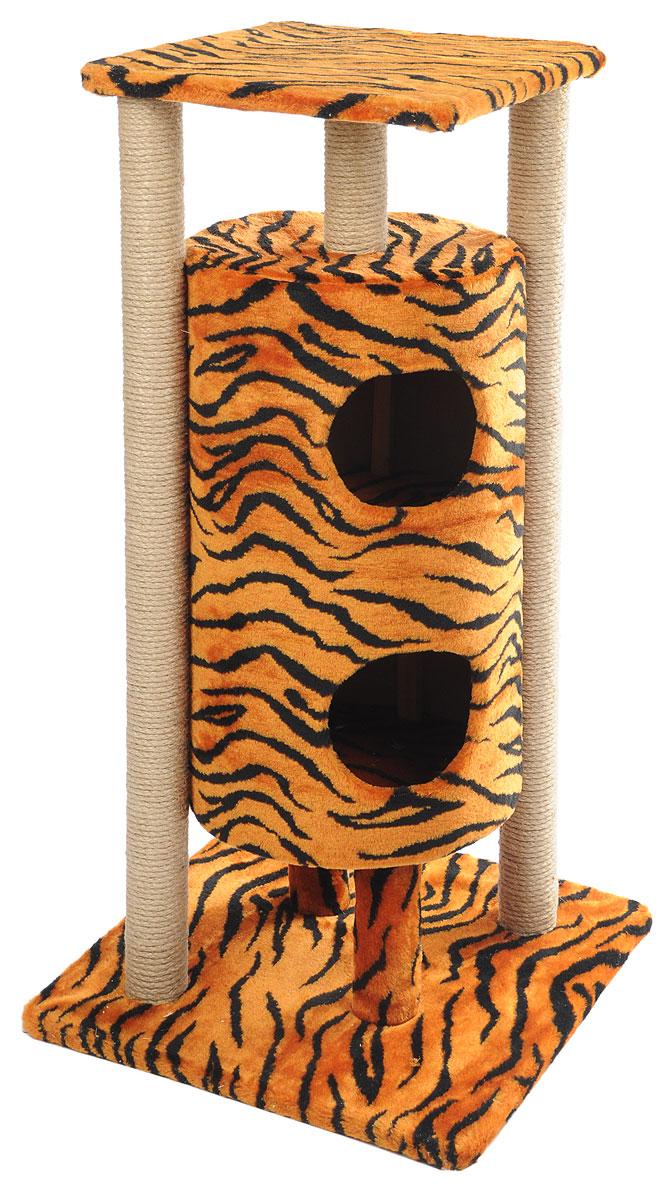 Домик-когтеточка Меридиан Ракета, 5-ярусный, цвет: черный, коричневый, 51 х 51 х 104 смД527Т