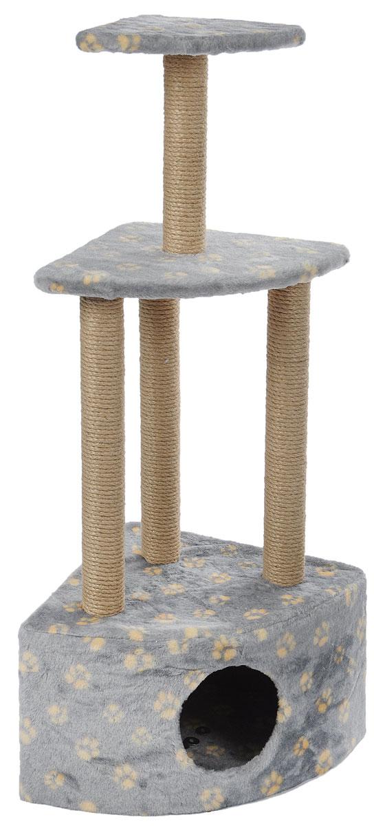 Игровой комплекс для кошек Меридиан, 3-ярусный, угловой, с домиком и когтеточкой, цвет: серый, бежевый, 42 х 42 х 110 смД127ГИгровой комплекс для кошек Меридиан выполнен из высококачественного ДВП и ДСП и обтянут искусственным мехом. Изделие предназначено для кошек. Комплекс имеет 3 яруса. Ваш домашний питомец будет с удовольствием точить когти о специальные столбики, изготовленные из джута. А отдохнуть он сможет либо на полках, либо в расположенном внизу домике.Общий размер: 42 х 42 х 110 см.Размер домика: 42 х 42 х 28 см.Размер большой полки: 35 х 35 см.Размер малой полки: 26 х 26 см.
