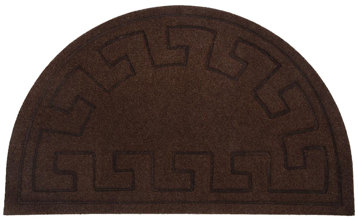 Коврик придверный EFCO Оскар. Геометрический узор, цвет коричневый, 65 х 40 см