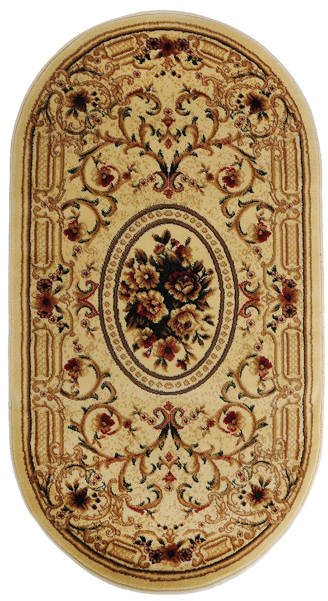 Ковер Kamalak Tekstil, овальный, цвет: кремовый, красный, 80 x 150 см. УК-026315038Ковры-паласы выполнены из полипропилена. Ковры обладают хорошими показателями теплостойкости и шумоизоляции. Являются гиппоалергенными. За счет невысокого ворса ковры легко чистить. Вам придется по душе широкая гамма цветов и возможность гармонично оформить интерьер. Практичный и устойчивый к износу ворс - от постоянного хождения не истирается, не накапливает статическое электричество. Структура волокна в полипропиленовых моделях гладкая, поэтому грязь не может выесться, на ворсе она скапливается с трудом. Полипропилен не впитывает влагу, отталкивает водянистые пятна. Уход: Самый простой способ избавить изделие от грязи – пропылесосить его с обеих сторон (лицевой и изнаночной).Влажная уборка с применением шампуней и моющих средств не противопоказана. Если шерсти и шёлку универсальные чистящие составы не подходят, то для синтетики они придутся в самый раз.Хранить их нужно рулоном, не складывая «салфеткой».При надлежащем уходе синтетический ковёр прослужит долго, не утратив ни яркости узора, ни блеска ворса, ни его упругости.