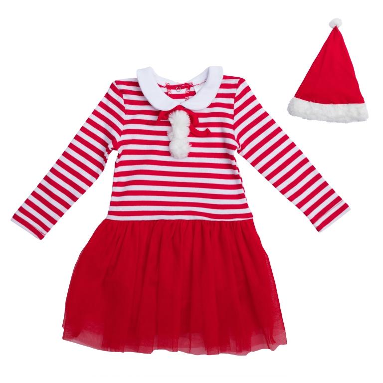 PlayToday Костюм карнавальный для девочек цвет красный белый размер 110 462006WJJ26039M-6Хлопковое платье с длинными рукавами. Полноценный наряд, не уступающий базовым платьям в удобстве и функциональности. Украшено легкой сетчатой юбкой, принтом в красно-белую полоску и декоративными помпонами из искусственного меха. Отложной воротник создает эффект многослойности. В комплекте есть шапка Санта-Клауса. Декорирована белым помпоном и меховой отделкой.