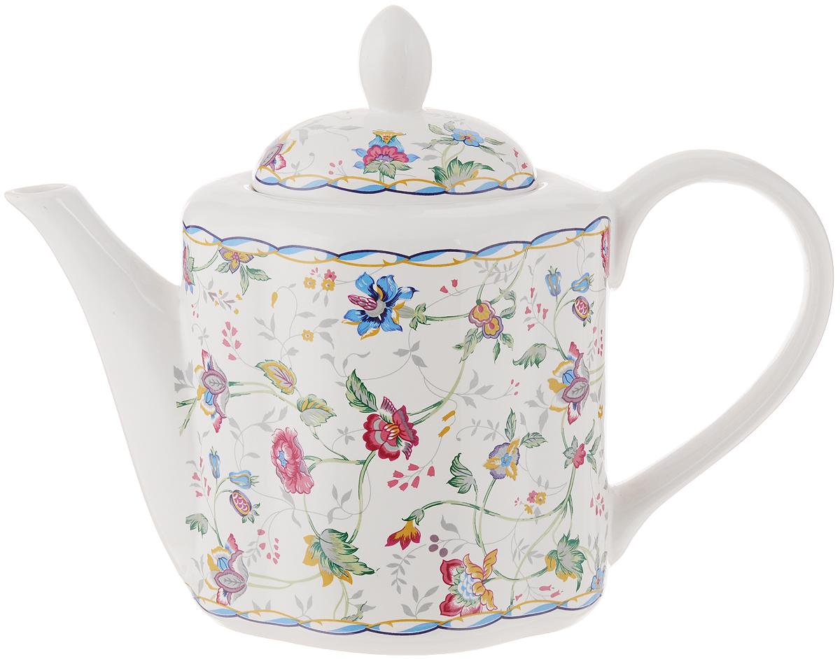Чайник заварочный House & Holder, цвет: белый, красный, синий, 1 лVT-1520(SR)Заварочный чайник House & Holder сочетает в себе изысканный дизайн с максимальной функциональностью. Красочность оформления придется по вкусу и ценителям классики, и тем, кто предпочитает современный стиль. Чайник выполнен из фаянса. Нежный цветочный рисунок придает модели особый шарм, который понравится каждому.Размеры чайника (с учетом ручки и крышки): 24,5 см х 11 см х 18,5 см.Объем чайника: 1 л.