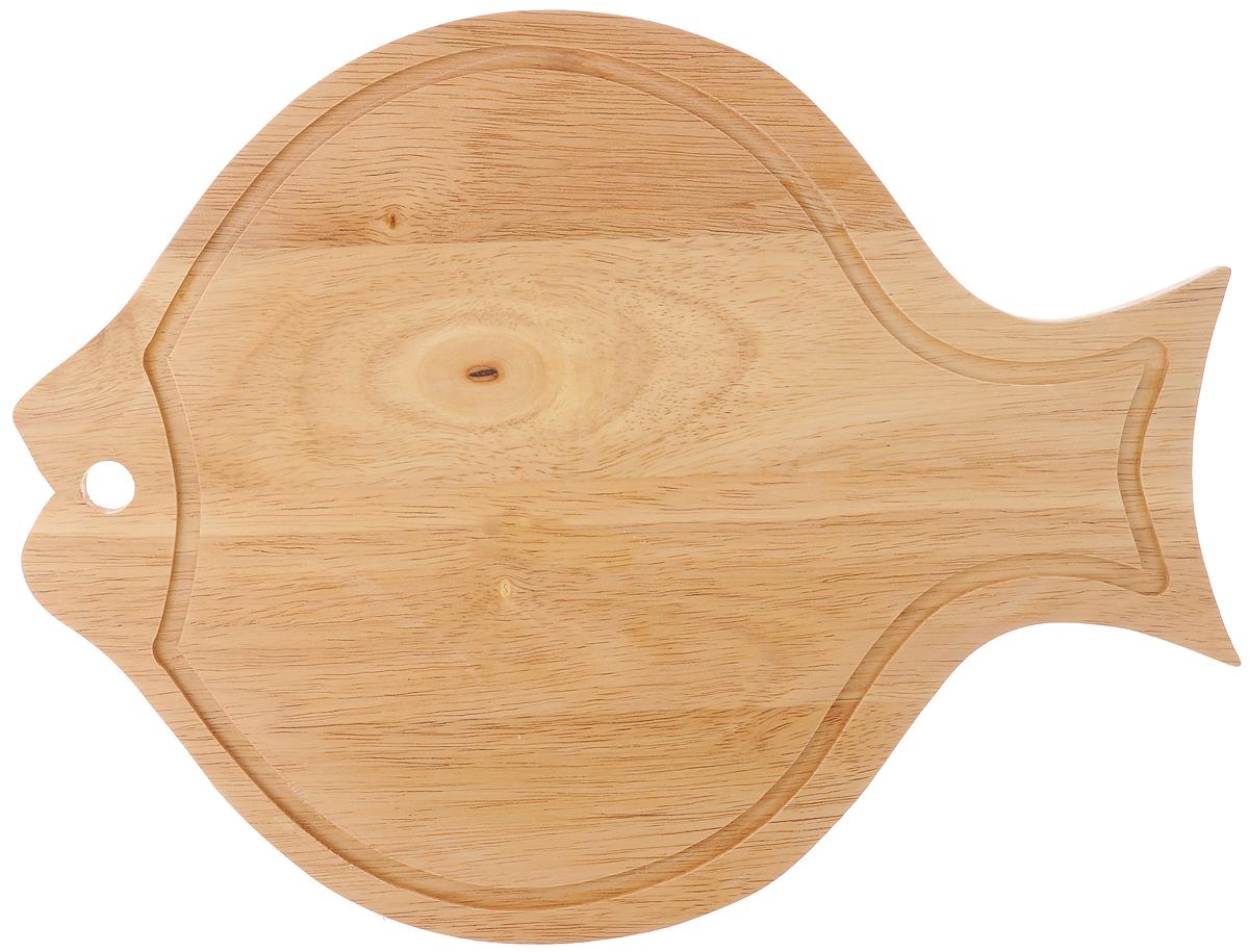 Доска разделочная House & Holder, с ручкой, 34 х 26 х 1,3 см54 009312Доска разделочная House & Holder изготовлена из гевеи. Гевея входит в семейство элитного красного дерева. Изделия из этого дерева отличаются твердостью, долговечностью и стойкостью к гниению. Доска в виде рыбки оснащена ручкой для более удобного использования.Функциональная и простая в использовании, разделочная доска House & Holder прекрасно впишется в интерьер любой кухни и прослужит вам долгие годы. Не рекомендуется мыть в посудомоечной машине.Размер доски: 34 х 26 см. Толщина доски: 1,3 см.