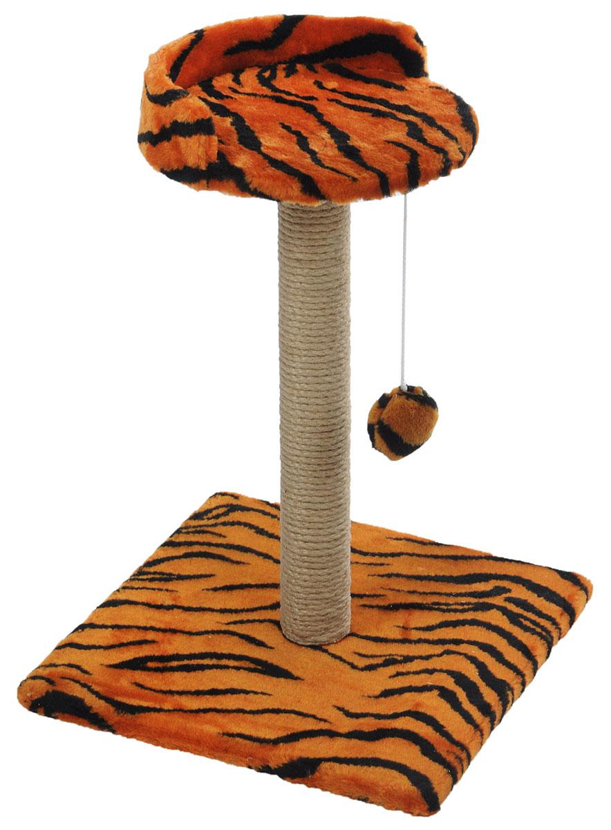 Когтеточка Меридиан Арена, цвет: оранжевый, черный, бежевый, 40 х 40 х 59 см. К5150120710Когтеточка Меридиан Арена поможет сохранить мебель и ковры в доме от когтей вашего любимца, стремящегося удовлетворить свою естественную потребность точить когти. Когтеточка изготовлена из ДСП, искусственного меха и джута. Товар продуман в мельчайших деталях и, несомненно, понравится вашей кошке. Подвесная игрушка привлечет внимание питомца. Сверху имеется полка с бортом, на которой кошка сможет отдохнуть.Всем кошкам необходимо стачивать когти. Когтеточка - один из самых необходимых аксессуаров для кошки. Для приучения к когтеточке можно натереть ее сухой валерьянкой или кошачьей мятой. Когтеточка поможет вашему любимцу стачивать когти и при этом не портить вашу мебель.Размер основания: 40 х 40 см.Высота когтеточки: 59 см.Диаметр полки: 28 см.