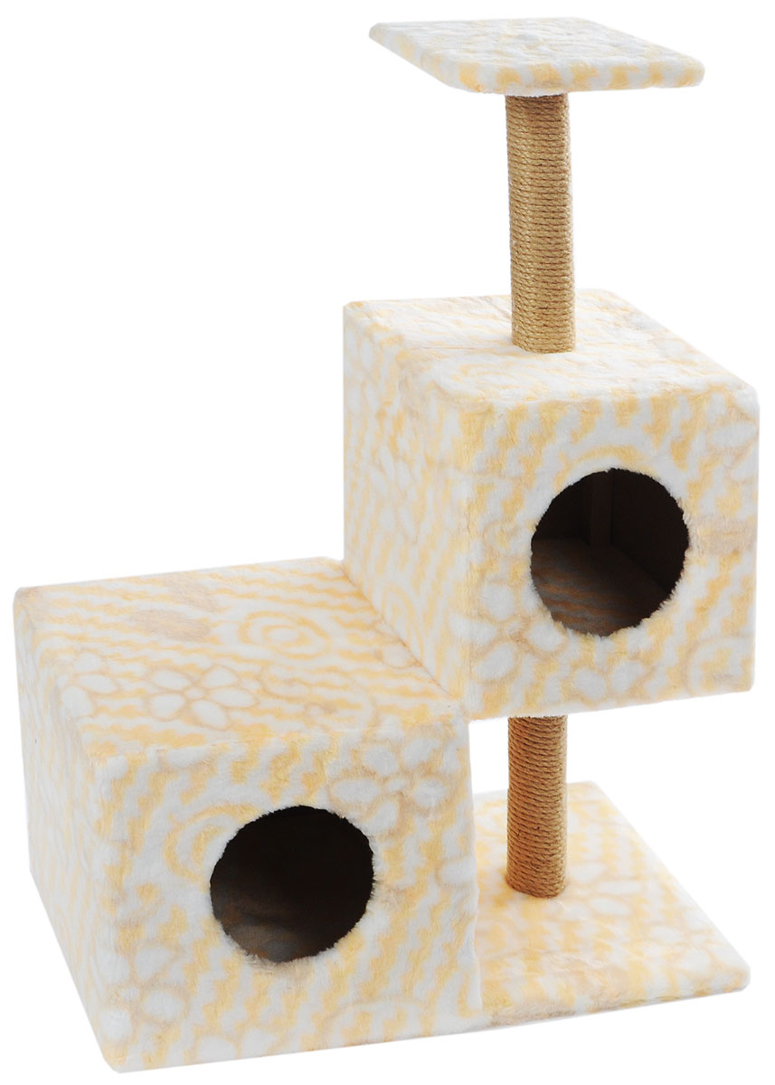 Домик-когтеточка Меридиан Разноуровневый, 3-ярусный, цвет: белый, желтый, бежевый, 66 х 36 х 94 смД133ЦвДомик-когтеточка Меридиан Разноуровневый выполнен из высококачественного ДВП и ДСП и обтянут искусственным мехом. Изделие предназначено для кошек. Комплекс имеет 3 яруса. Ваш домашний питомец будет с удовольствием точить когти о специальные столбики, изготовленные из джута. А отдохнуть он сможет либо на полке, либо в домиках. Домик-когтеточка Меридиан Разноуровневый принесет пользу не только вашему питомцу, но и вам, так как он сохранит мебель от когтей и шерсти.Общий размер: 66 х 36 х 94 см.Размер нижнего домика: 36 х 36 х 32 см.Размер верхнего домика: 32 х 32 х 32 см.Размер полки: 26 х 26 см.