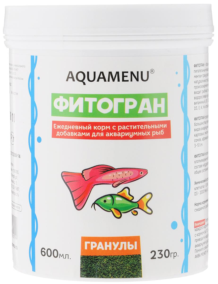 Корм Aquamenu Фитогран для аквариумных рыб, с растительными добавками, 600 мл (230 г)0120710Aquamenu Фитогран - сбалансированный по всем основным питательным веществам, витаминам и микроэлементам гранулированный корм. Производится из натуральных продуктов животного и растительного происхождения методом экструзии. Aquamenu Фитогран предназначен для ежедневного кормления большинства преимущественно растительноядных видов аквариумных рыб: живородящих, карпозубых, карповых, многих харациновых, лабиринтовых, сомов, африканских цихлид и других рыб длиною 3-10 см.Состав: рыбная, пшеничная, соевая, травяная и водорослевая мука, крапива, микроэлементы, витамины A, B1, B2, B3, B4, B5, B6, B7, B8, B12, C, D3, E, K, Н и специальные добавки.Товар сертифицирован.