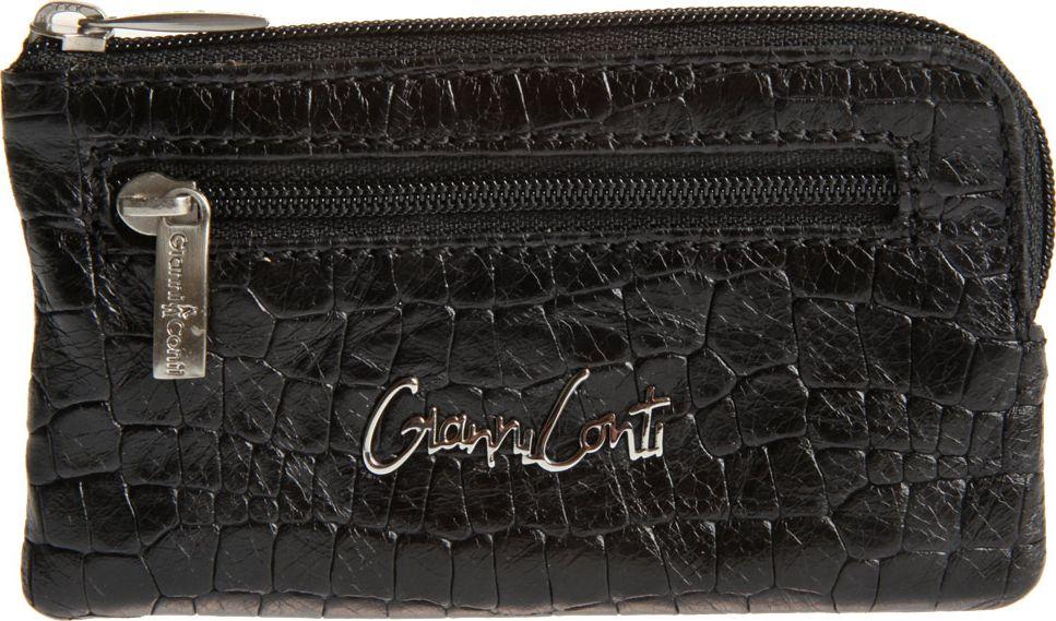 Ключница женская Gianni Conti, цвет: черный. 138907339864|Серьги с подвескамизакрывается на молниювнутри два кольца для ключейснаружи на передней стенке карман на молнии
