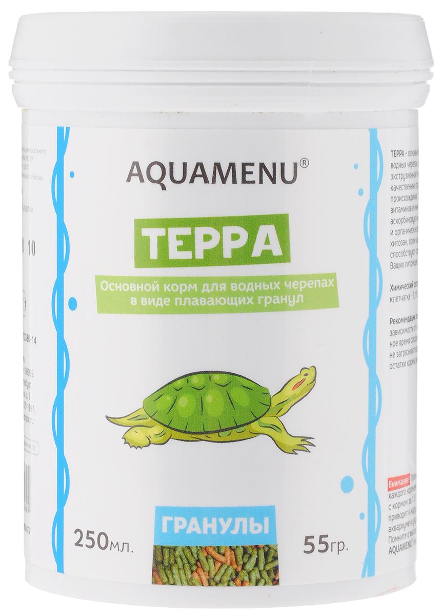 Корм Aquamenu Терра, для водных черепах, 250 мл (55 г)16Корм Aquamenu Терра - это основной корм в виде плавающих гранул для водных черепах. Корм изготовлен по современной экструзионной технологии из натуральных высококачественных продуктов животного и растительного происхождения. Содержит водоросли, комплекс витаминов и минералов, стабилизированную аскорбиновую кислоту. Специальные минеральные и органические добавки укрепляют иммунитет и способствуют сохранению скелета и панциря ваших питомцев.Товар сертифицирован.