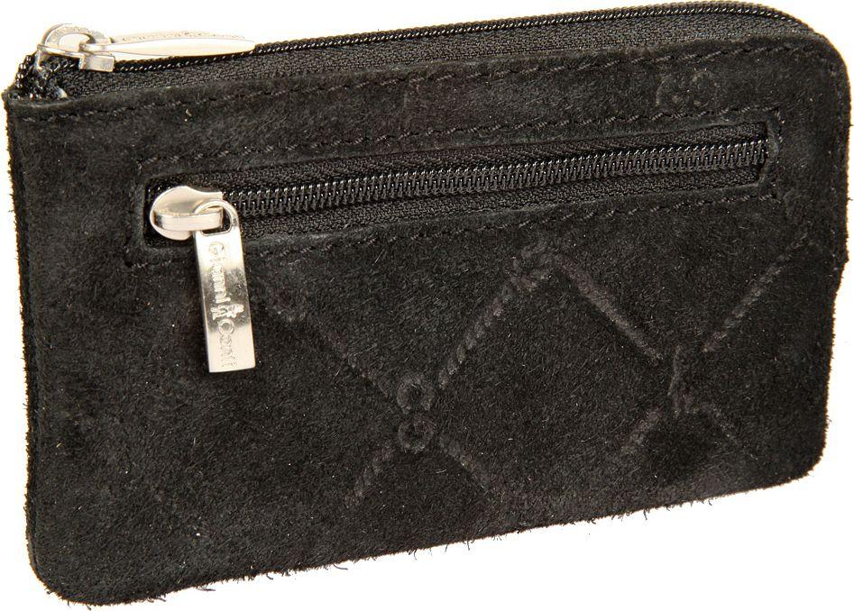 Ключница женская Gianni Conti, цвет: черный. 362907339864|Серьги с подвескамиКлючница женская Gianni Conti выполнена из натуральной кожи. Модель закрывается на молнию, внутри два кольца для ключей, снаружи на передней стенке карман на молнии.