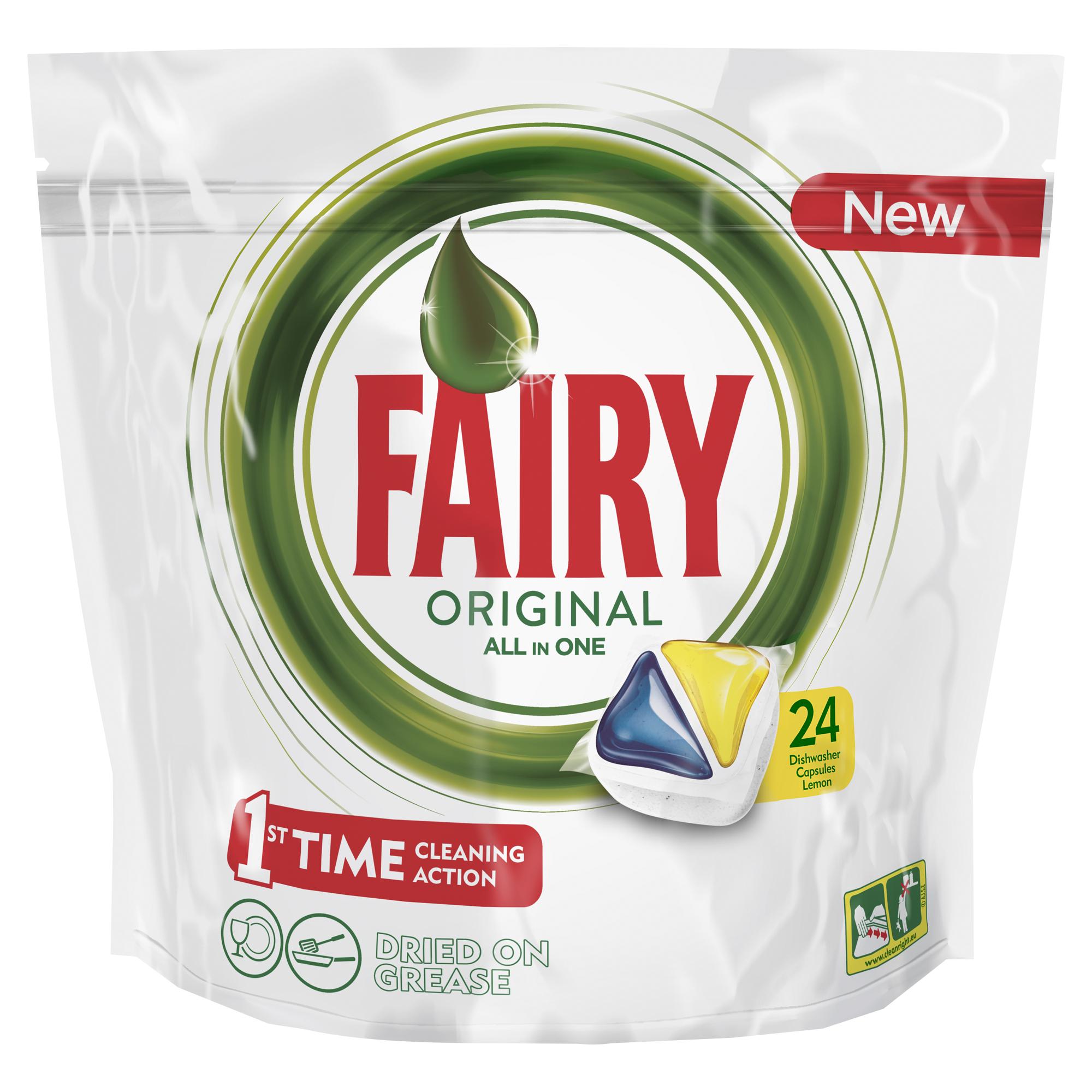 Капсулы для посудомоечной машины Fairy Original All In One. Лимон, 24 шти790009Капсулы для посудомоечной машины Fairy Original All in One идеально отмывают посуду со сложными загрязнениями с 1-го раза. Fairy Original содержит гель и порошок в одной капсуле. Капсула растворяется гораздо быстрее, чем другие таблетки для посудомоечной машины, и поэтому начинает действовать немедленно. Кроме того, капсулы Fairy очень просты в использовании – просто поместите их в посудомоечную машину (не нужно распаковывать). Сила Fairy теперь и для посудомоечных машин! Идеально чистая посуда с 1-го раза. Справляется с засохшей и пригоревшей грязью. Капсулы для посудомоечной машины Fairy Original All in One Очистит даже самые сложные загрязнения. С функцией супер-сияния посуды. С добавлением соли и ополаскивателя, а так же с защитой стекла и серебра. Сохраняет приятный запах в посудомоечной машине С жидким моющим средством для борьбы со сложным жиром. Произведено и протестировано для использования во всех посудомоечных машинах. Готовы к использованию. Не нужно разворачивать. 1 капсула = 1 загрузка. Поместите капсулу в отсек для моющего средства и сразу закройте. Брать капсулу только сухими руками. Не разворачивайте и не прокалывайте капсулу. Закрывайте пакет после каждого использования.