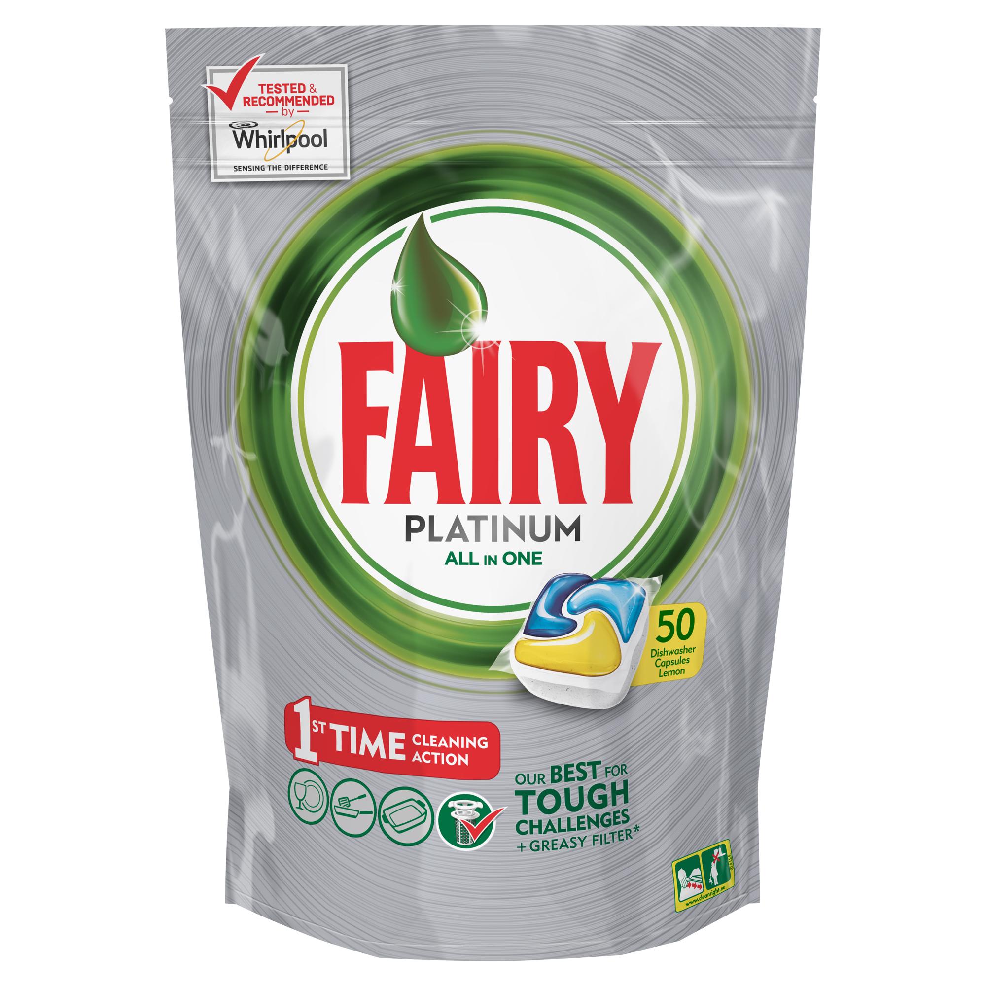 Капсулы для посудомоечной машины Fairy Platinum Лимон, 50 шт41619Капсулы для посудомоечной машины Fairy Platinum All in One идеально отмоют посуду с 1-го раза и безупречно справятся с любыми сложными загрязнениями – от засохшего и пригоревшего жира до пятен от чая. С новыми капсулами Fairy Platinum ваша посуда будет сиять благодаря специальной формуле с усилителем блеска. Теперь вы можете готовить что угодно и быть уверенным, что ваша машинка с легкостью справится с грязной посудой благодаря Fairy Platinum. Капсула растворяется гораздо быстрее, чем другие таблетки для посудомоечной машины, и поэтому начинает действовать немедленно. Кроме того, капсулы Fairy очень просты в использовании – просто поместите их в посудомоечную машину (не нужно распаковывать). Сила Fairy Platinum теперь и для посудомоечных машин! Лучшая формула Fairy для идеально чистой посуды с 1-го раза. Легко справится даже с засохшей и пригоревшей грязью. Капсулы для посудомоечной машины Fairy Platinum All in One dishwasher tablets Такой сильный, что очистит даже фильтр от посудомоечной машины. С добавлением соли и ополаскивателя, а так же с защитой стекла и серебра. Сохраняет приятный запах в посудомоечной машине Помогает предотвратить накопление жира на фильтре, системе спуска воды и разбрызгивателе Произведено и протестировано для использования во всех посудомоечных машинах. Готовы к использованию. Не нужно разворачивать. 1 капсула = 1 загрузка. Поместите капсулу в отсек для моющего средства и сразу закройте. Брать капсулу только сухими руками. Не разворачивайте и не прокалывайте капсулу. Закрывайте пакет после каждого использования.