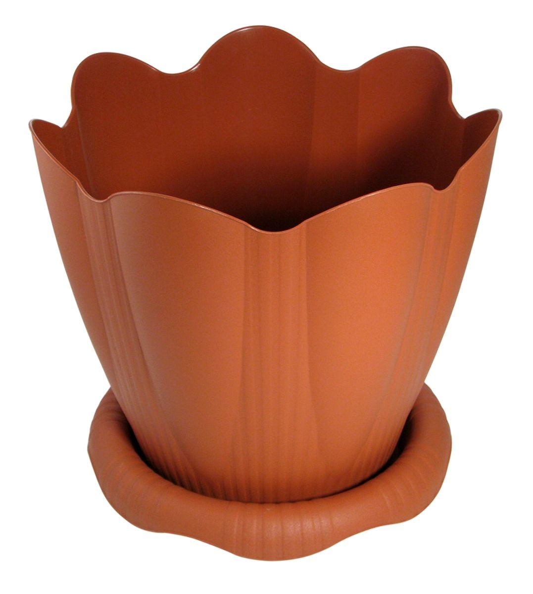 Горшок для цветов Martika Эдельвейс, с поддоном, цвет: терракотовый, 3 лZ-0307Любой, даже самый современный и продуманный интерьер будет не завершённым без растений. Они не только очищают воздух и насыщают его кислородом, но и заметно украшают окружающее пространство. Такому полезному &laquo члену семьи&raquoпросто необходимо красивое и функциональное кашпо, оригинальный горшок или необычная ваза! Мы предлагаем - Горшок Эдельвейс с поддоном 3 л d=20 см, цвет терракотовый!Оптимальный выбор материала &mdash &nbsp пластмасса! Почему мы так считаем? Малый вес. С лёгкостью переносите горшки и кашпо с места на место, ставьте их на столики или полки, подвешивайте под потолок, не беспокоясь о нагрузке. Простота ухода. Пластиковые изделия не нуждаются в специальных условиях хранения. Их&nbsp легко чистить &mdashдостаточно просто сполоснуть тёплой водой. Никаких царапин. Пластиковые кашпо не царапают и не загрязняют поверхности, на которых стоят. Пластик дольше хранит влагу, а значит &mdashрастение реже нуждается в поливе. Пластмасса не пропускает воздух &mdashкорневой системе растения не грозят резкие перепады температур. Огромный выбор форм, декора и расцветок &mdashвы без труда подберёте что-то, что идеально впишется в уже существующий интерьер.Соблюдая нехитрые правила ухода, вы можете заметно продлить срок службы горшков, вазонов и кашпо из пластика: всегда учитывайте размер кроны и корневой системы растения (при разрастании большое растение способно повредить маленький горшок)берегите изделие от воздействия прямых солнечных лучей, чтобы кашпо и горшки не выцветалидержите кашпо и горшки из пластика подальше от нагревающихся поверхностей.Создавайте прекрасные цветочные композиции, выращивайте рассаду или необычные растения, а низкие цены позволят вам не ограничивать себя в выборе.