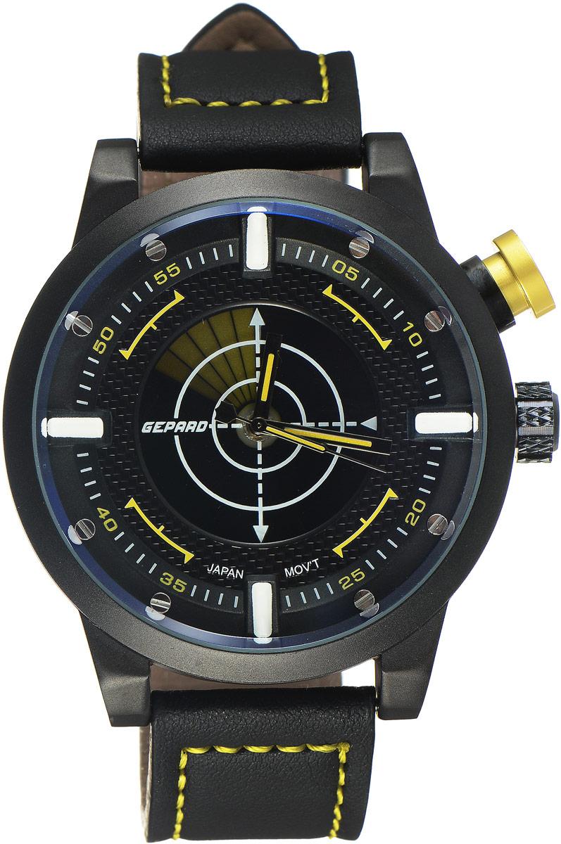 Наручные часы мужские Gepard, цвет: черный, желтый. 1225A11L4BM8434-58AEНаручные часы Gepard выполнены из металла и минерального стекла. Циферблат оформлен в четырех уровнях, что придает этим бескомпромиссно мужским часам современный вид. При нажатии на большую кнопку над переводной головкой в центральной части циферблата запускается и останавливается вращение сектора, обегающего круг за четыре секунды. Минеральное стекло с сапфировым напылением устойчиво к царапинам. Ремень из искусственной кожи с контрастной прострочкой комплектуется стальной застежкой-пряжкой, гарантирующей комфорт и надежность.