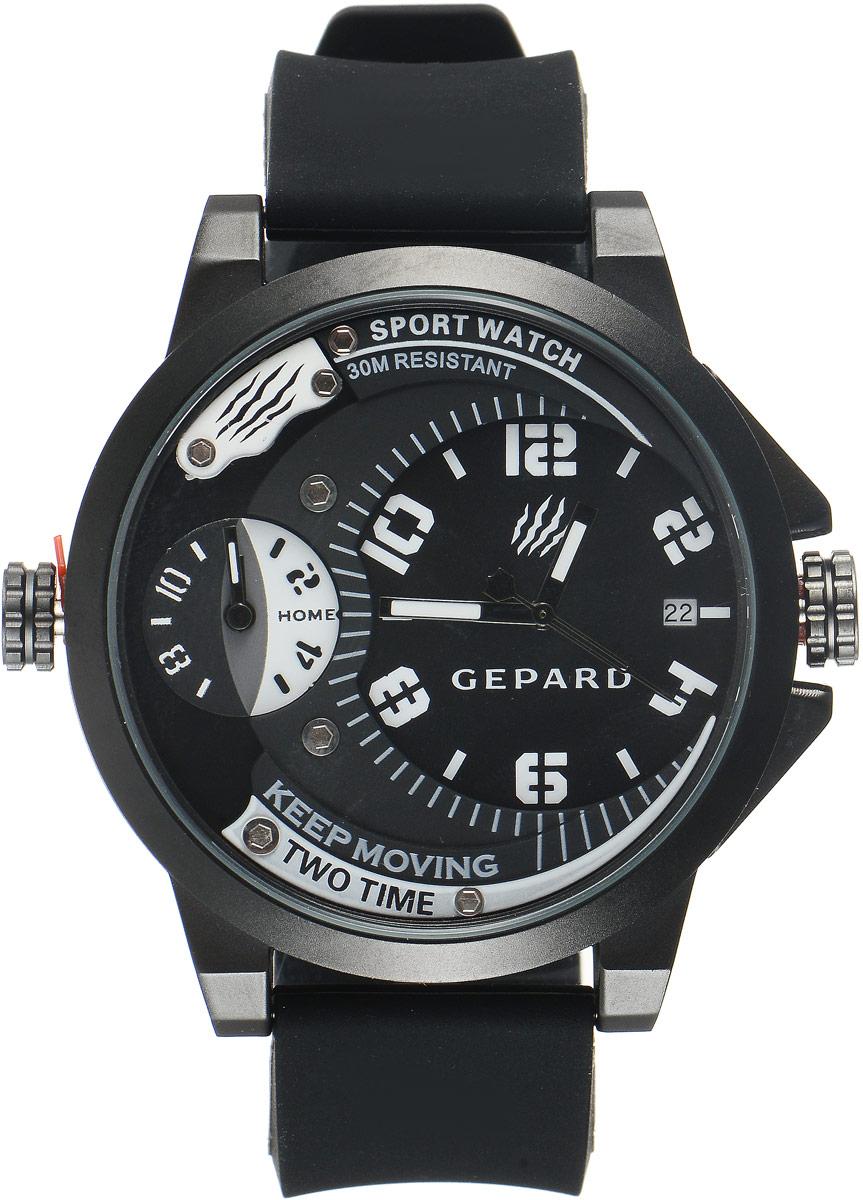 Наручные часы мужские Gepard, цвет: черный, белый. 1221A11L1BM8434-58AEНаручные часы Gepard выполнены из металла и минерального стекла. Циферблат оформлен символикой бренда. Корпус часов оформлен матовой поверхностью с весьма оригинальным циферблатом. Часы оснащены кварцевым механизмом, дополнены устойчивым к царапинам минеральным стеклом. Ремешок выполнен из силикона и оснащен пряжкой, благодаря которой можно с легкостью снимать и надевать изделие.