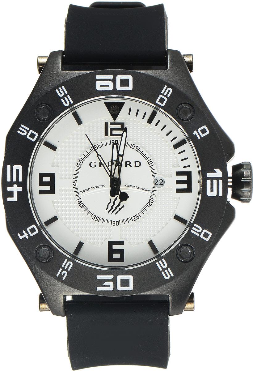 Наручные часы мужские Gepard, цвет: черный, белый. 1222A11L64106черныеНаручные часы Gepard выполнены из металла. Циферблат оформлен символикой бренда. Оригинальная композиция двухуровневого циферблата представлена в виде сочетания ярких арабских цифр и широких стальных знаков, которую оттеняет необычное гильоширование «женевские гвозди» на нижнем уровне. Часы оснащены кварцевым механизмом, дополнены устойчивым к царапинам минеральным стеклом. Задняя крышка изготовлена из высокотехнологичной нержавеющей стали. Часы снабжены эргономичным силиконовым ремнем с надежной застежкой.