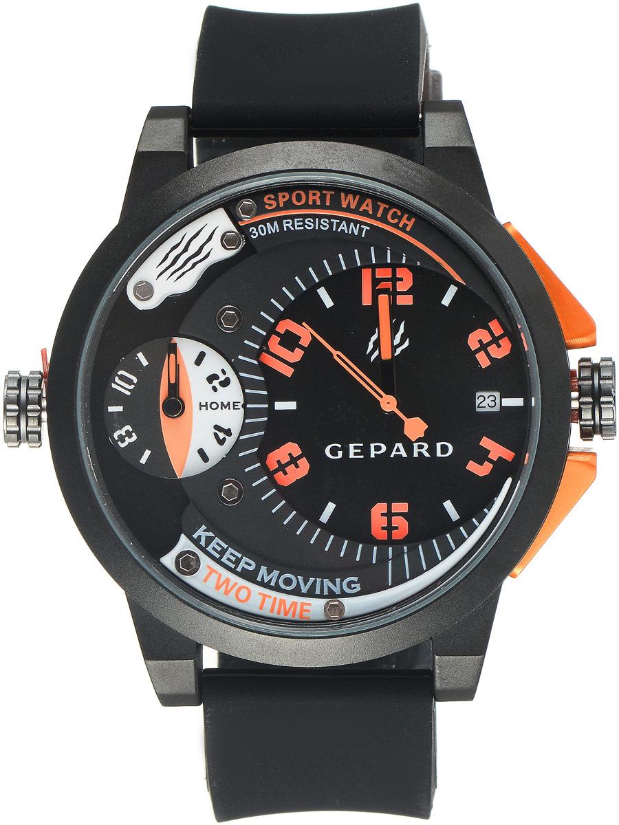 Наручные часы мужские Gepard, цвет: черный, оранжевый. 1221A11L4BM8434-58AEНаручные часы Gepard выполнены из металла и минерального стекла. Циферблат оформлен символикой бренда. Корпус часов оформлен матовой поверхностью с весьма оригинальным циферблатом. Часы оснащены кварцевым механизмом, дополнены устойчивым к царапинам минеральным стеклом. Ремешок выполнен из силикона и оснащен пряжкой, благодаря которой можно с легкостью снимать и надевать изделие.
