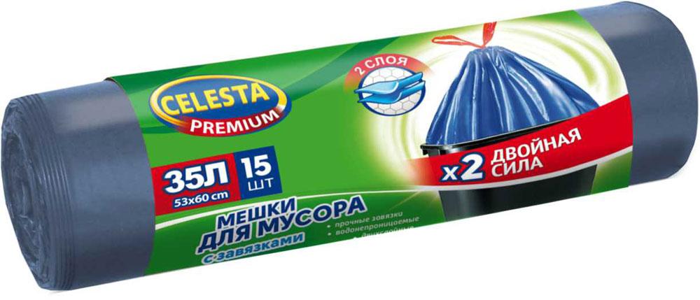 Мешки для мусора Celesta, с завязками, 35 л, 15 шт4467Мешки для мусора Celesta изготовлены из первичного сырья, имеют высокое качество, при проколе мешок не рвется и не расползается. Мешки для мусора изготовлены из ПНД. Для удобства использования мешки оснащены специальными завязками, это позволяет изолировать неприятный запах и с удобством переносить пакет.