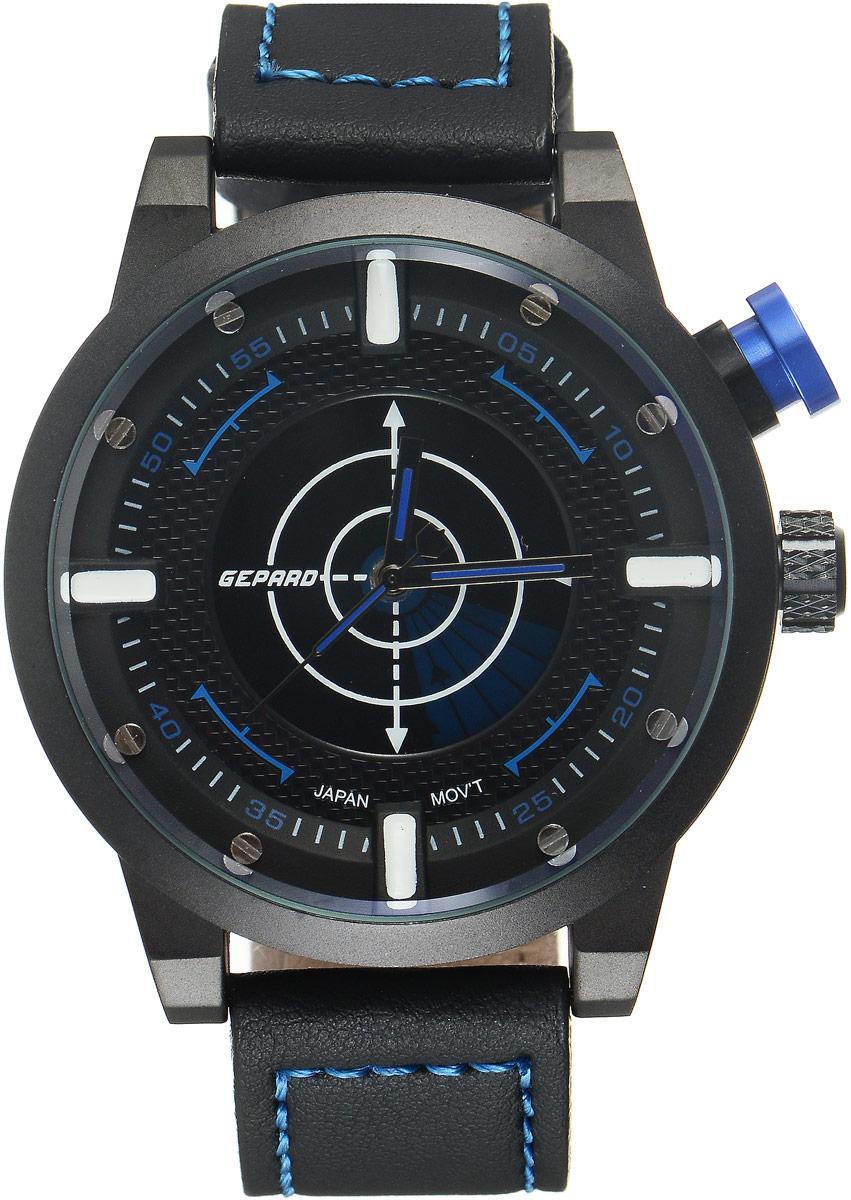 Наручные часы мужские Gepard, цвет: черный, синий. 1225A11L3BM8434-58AEНаручные часы Gepard выполнены из металла и минерального стекла. Циферблат оформлен в четырех уровнях, что придает этим бескомпромиссно мужским часам современный вид. При нажатии на большую кнопку над переводной головкой в центральной части циферблата запускается и останавливается вращение сектора, обегающего круг за четыре секунды. Минеральное стекло с сапфировым напылением устойчиво к царапинам. Ремень из искусственной кожи с контрастной прострочкой комплектуется стальной застежкой-пряжкой, гарантирующей комфорт и надежность.