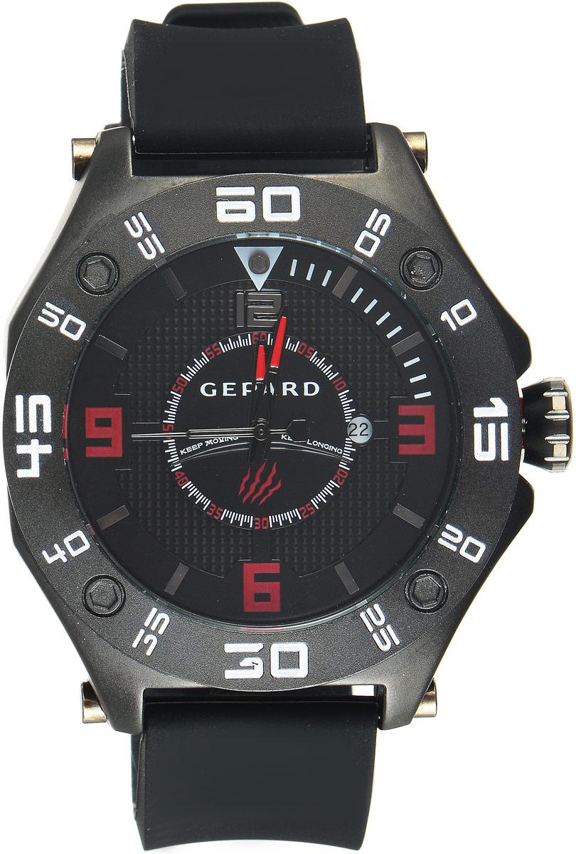 Наручные часы мужские Gepard, цвет: черный. 1222A11L2BM8434-58AEНаручные часы Gepard выполнены из металла. Циферблат оформлен символикой бренда. Оригинальная композиция двухуровневого циферблата представлена в виде сочетания ярких арабских цифр и широких стальных знаков, которую оттеняет необычное гильоширование «женевские гвозди» на нижнем уровне. Часы оснащены кварцевым механизмом, дополнены устойчивым к царапинам минеральным стеклом. Задняя крышка изготовлена из высокотехнологичной нержавеющей стали. Часы снабжены эргономичным силиконовым ремнем с надежной застежкой.