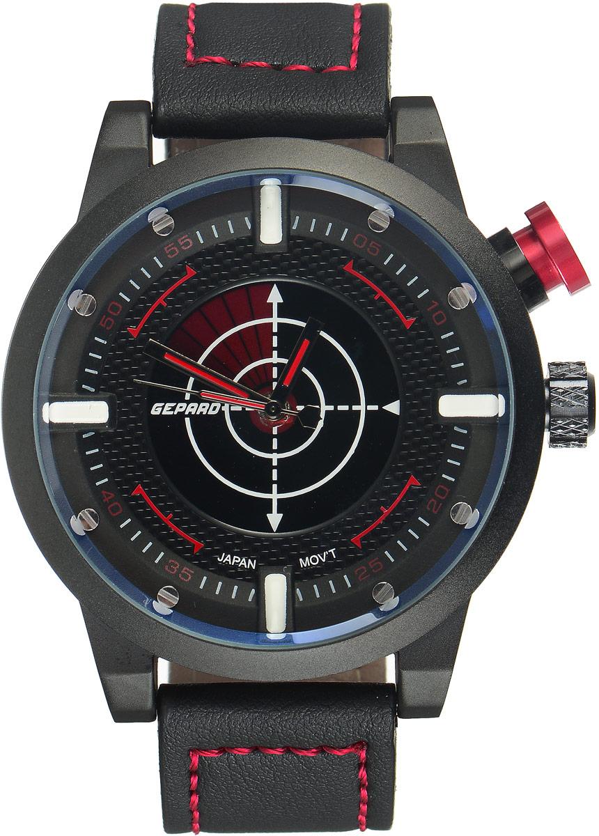 Наручные часы мужские Gepard, цвет: черный, красный. 1225A11L2BM8434-58AEНаручные часы Gepard выполнены из металла и минерального стекла. Циферблат оформлен в четырех уровнях, что придает этим бескомпромиссно мужским часам современный вид. При нажатии на большую кнопку над переводной головкой в центральной части циферблата запускается и останавливается вращение сектора, обегающего круг за четыре секунды. Минеральное стекло с сапфировым напылением устойчиво к царапинам. Ремень из искусственной кожи с контрастной прострочкой комплектуется стальной застежкой-пряжкой, гарантирующей комфорт и надежность.
