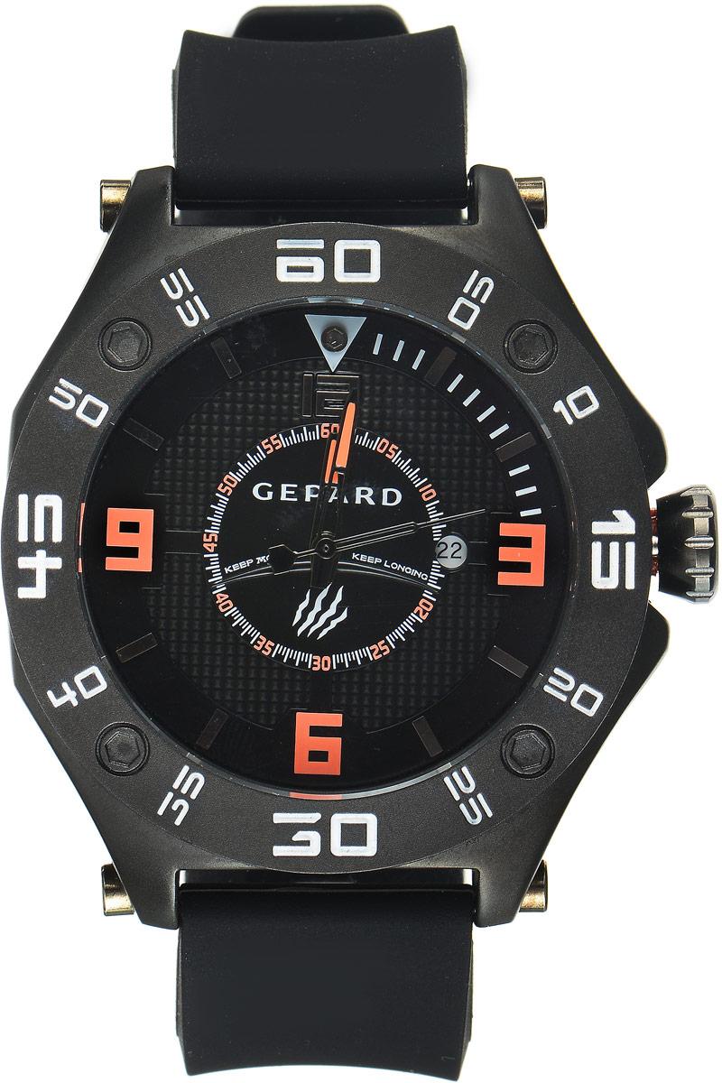Наручные часы мужские Gepard, цвет: черный. 1222A11L4BM8434-58AEНаручные часы Gepard выполнены из металла. Циферблат оформлен символикой бренда. Оригинальная композиция двухуровневого циферблата представлена в виде сочетания ярких арабских цифр и широких стальных знаков, которую оттеняет необычное гильоширование «женевские гвозди» на нижнем уровне. Часы оснащены кварцевым механизмом, дополнены устойчивым к царапинам минеральным стеклом. Задняя крышка изготовлена из высокотехнологичной нержавеющей стали. Часы снабжены эргономичным силиконовым ремнем с надежной застежкой.