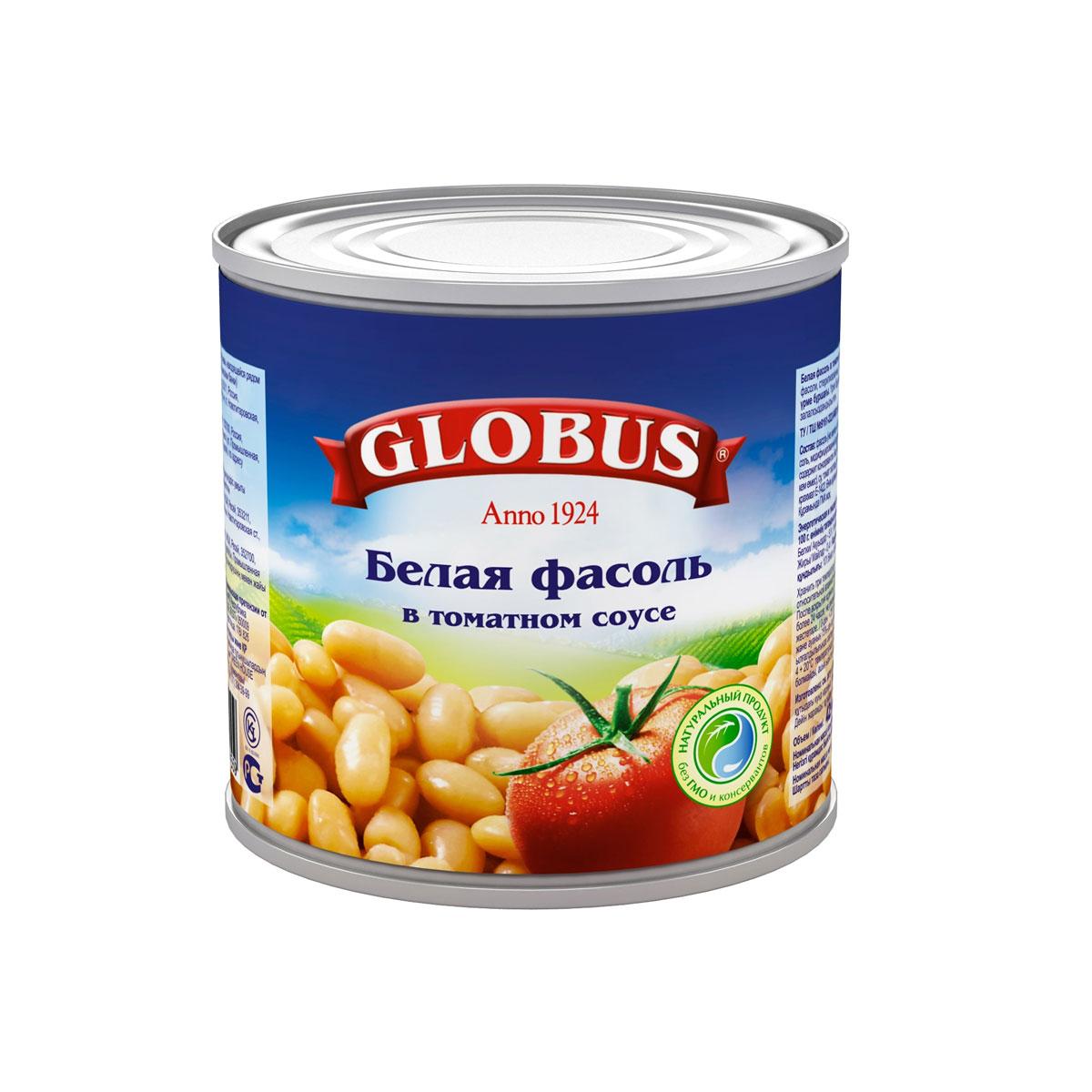 Globus белая фасоль в томатном соусе, 400 г
