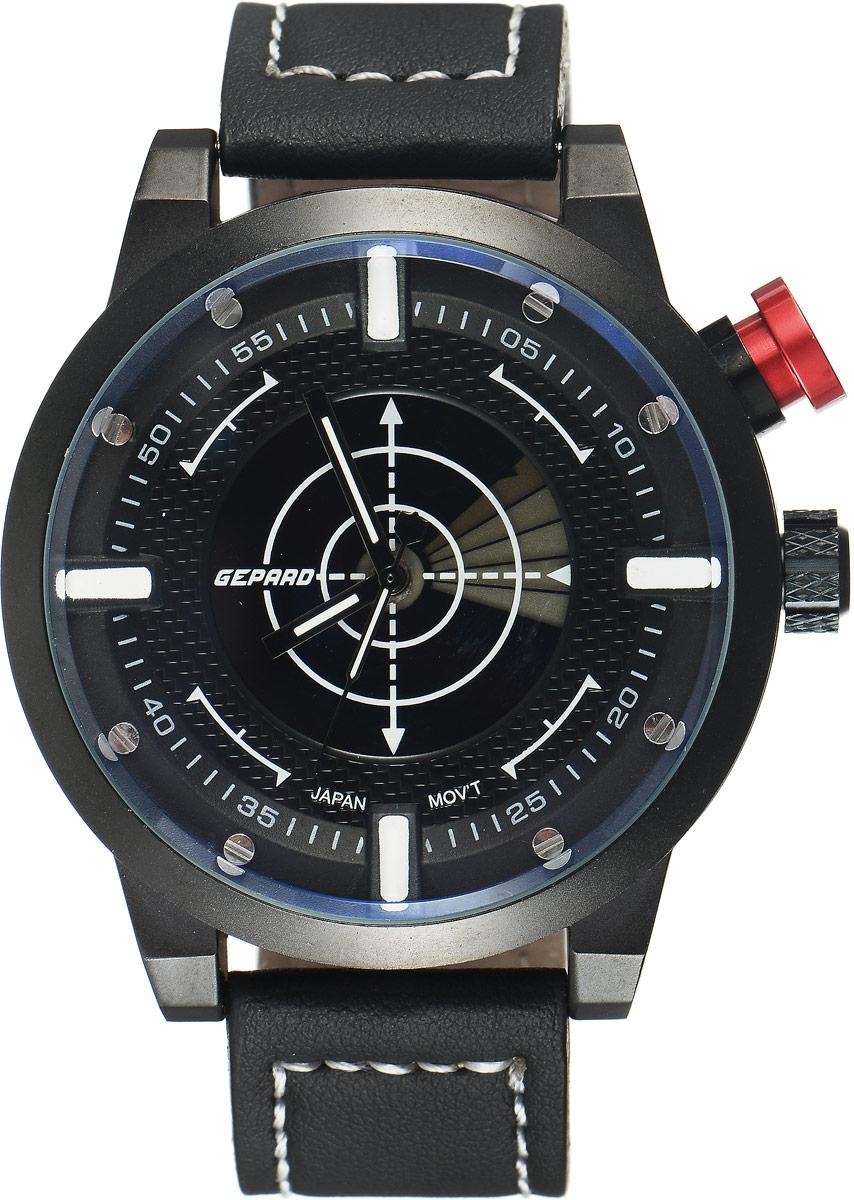 Наручные часы мужские Gepard, цвет: черный. 1225A11L1BP-001 BKНаручные часы Gepard выполнены из металла и минерального стекла. Циферблат оформлен в четырех уровнях, что придает этим бескомпромиссно мужским часам современный вид. При нажатии на большую кнопку над переводной головкой в центральной части циферблата запускается и останавливается вращение сектора, обегающего круг за четыре секунды. Минеральное стекло с сапфировым напылением устойчиво к царапинам. Ремень из искусственной кожи с контрастной прострочкой комплектуется стальной застежкой-пряжкой, гарантирующей комфорт и надежность.