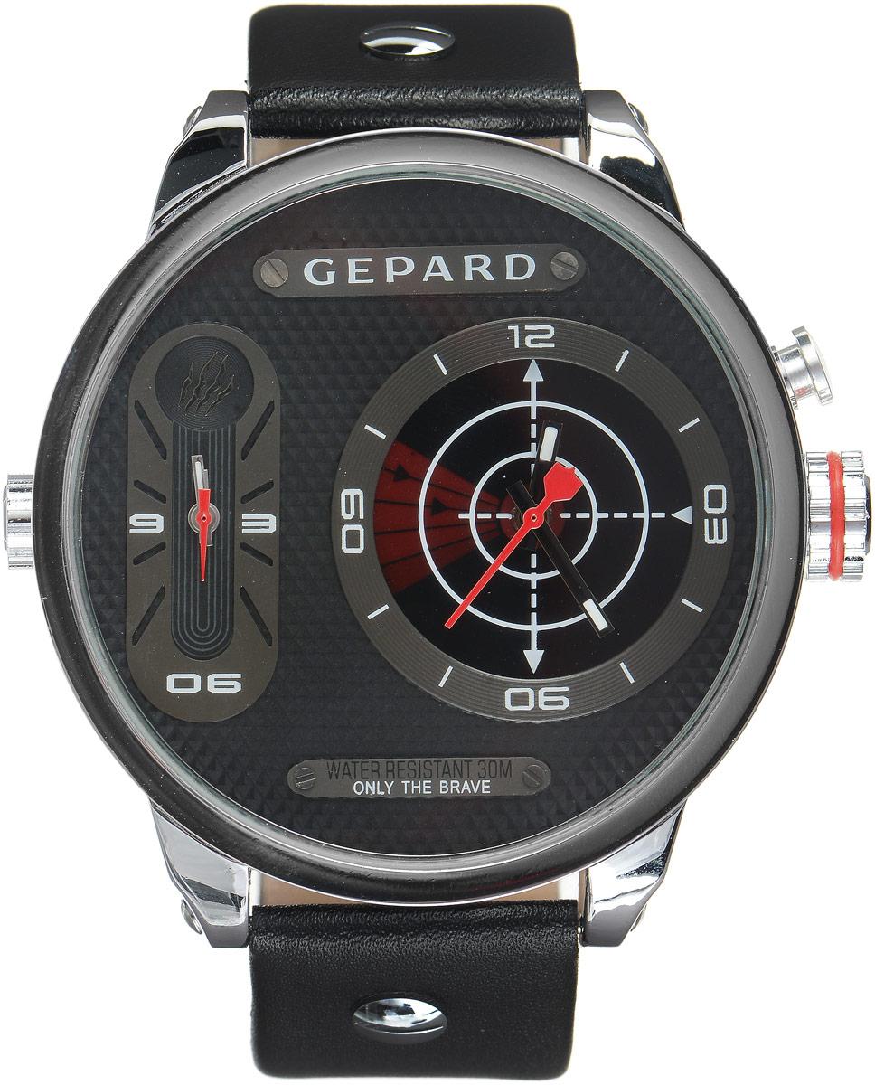 Наручные часы мужские Gepard, цвет: серебристый, красный. 1224A1L1BM8434-58AEНаручные часы Gepard выполнены из металла и минерального стекла. Циферблат оформлен символикой бренда. На гильошированной поверхности два циферблата, позволяющих определить время в разных часовых поясах. При нажатии на кнопку над большой заводной головкой на круглом циферблате запускается и останавливается вращение сектора, обегающего круг за четыре секунды. Корпус изделия оснащен кварцевым механизмом, дополнен устойчивым к царапинам минеральным стеклом. Ремешок выполнен из искусственной кожи и оснащен пряжкой, благодаря которой можно с легкостью снимать и надевать изделие.