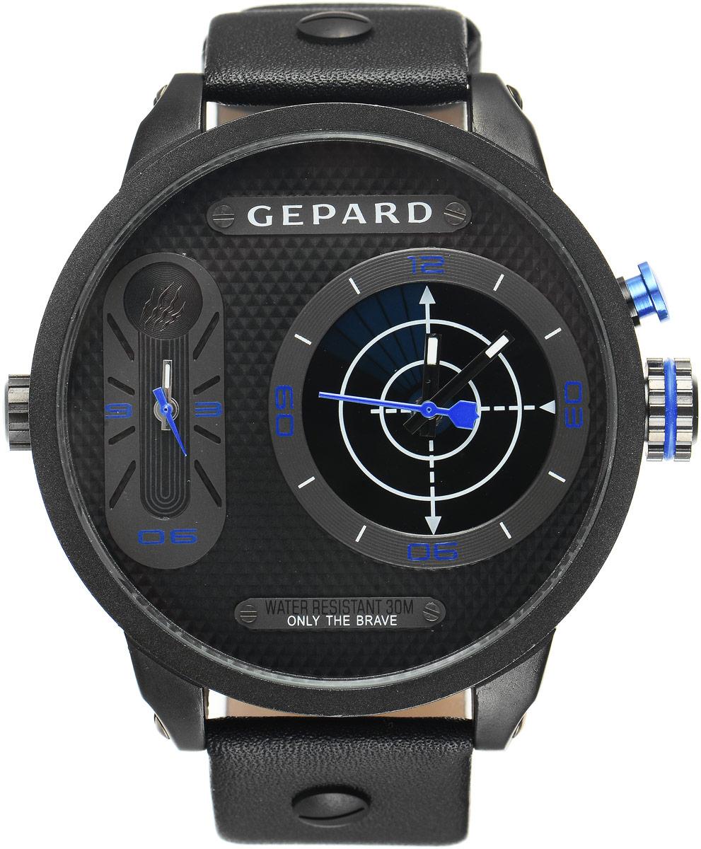 Наручные часы мужские Gepard, цвет: черный, синий. 1224A11L4BM8434-58AEНаручные часы Gepard выполнены из металла и минерального стекла. Циферблат оформлен символикой бренда. На гильошированной поверхности два циферблата, позволяющих определить время в разных часовых поясах. При нажатии на кнопку над большой заводной головкой на круглом циферблате запускается и останавливается вращение сектора, обегающего круг за четыре секунды. Корпус изделия оснащен кварцевым механизмом, дополнен устойчивым к царапинам минеральным стеклом. Ремешок выполнен из искусственной кожи и оснащен пряжкой, благодаря которой можно с легкостью снимать и надевать изделие.