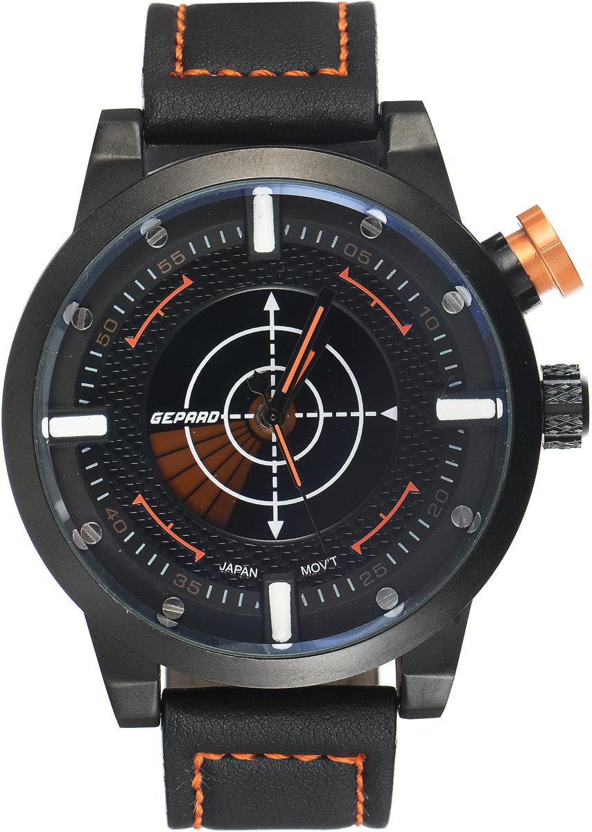 Наручные часы мужские Gepard, цвет: черный, оранжевый. 1225A11L5BM8241-01EEНаручные часы Gepard выполнены из металла и минерального стекла. Циферблат оформлен в четырех уровнях, что придает этим бескомпромиссно мужским часам современный вид. При нажатии на большую кнопку над переводной головкой в центральной части циферблата запускается и останавливается вращение сектора, обегающего круг за четыре секунды. Минеральное стекло с сапфировым напылением устойчиво к царапинам. Ремень из искусственной кожи с контрастной прострочкой комплектуется стальной застежкой-пряжкой, гарантирующей комфорт и надежность.