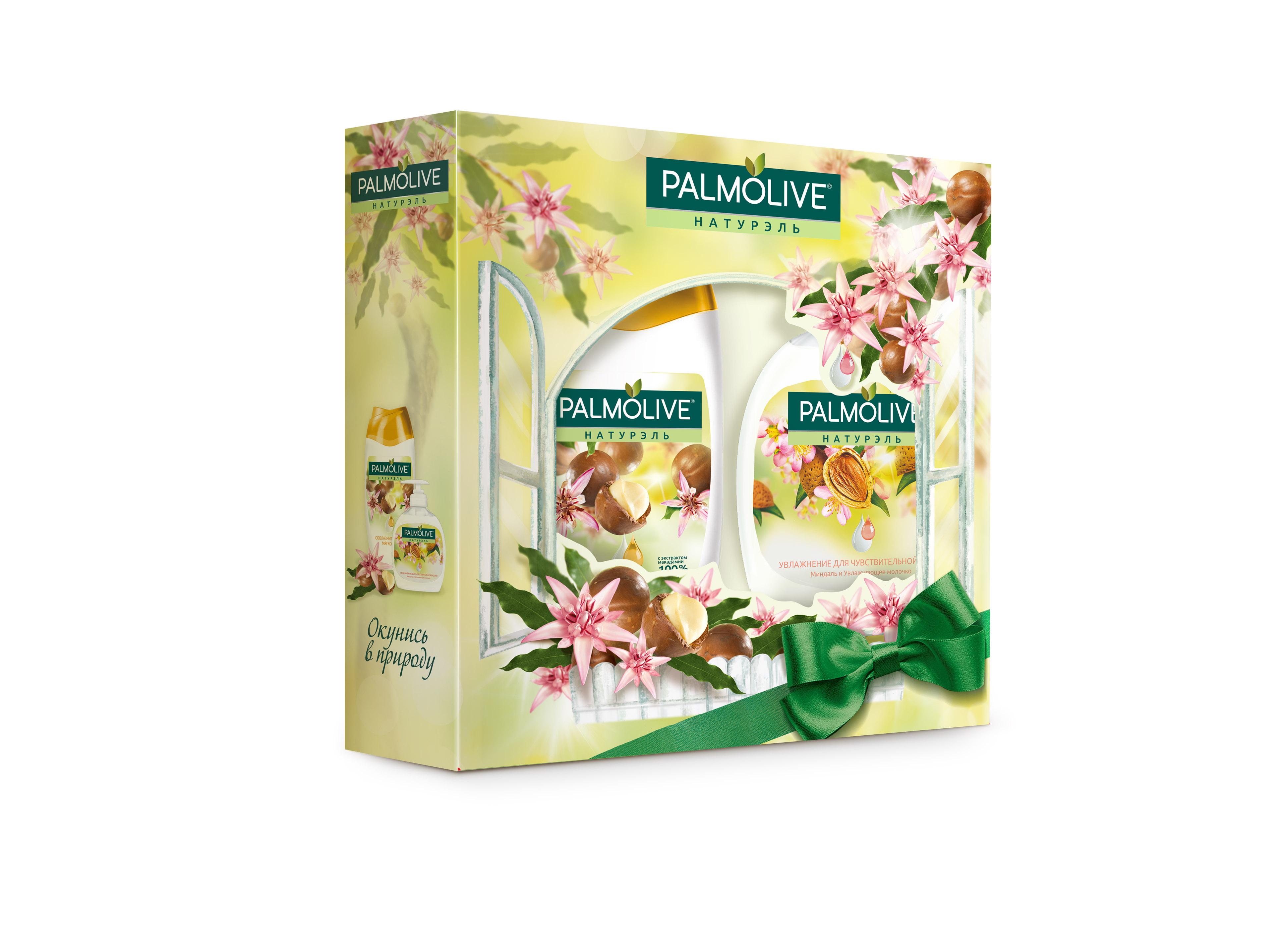 Подарочный набор Palmolive Натурэль Соблазнительная Мягкость с экстрактом МакадамииSC-FM20104Гель для душа Макадамия 250мл - 1шт, жидкое мыло Миндаль 300мл - 1шт в коробке