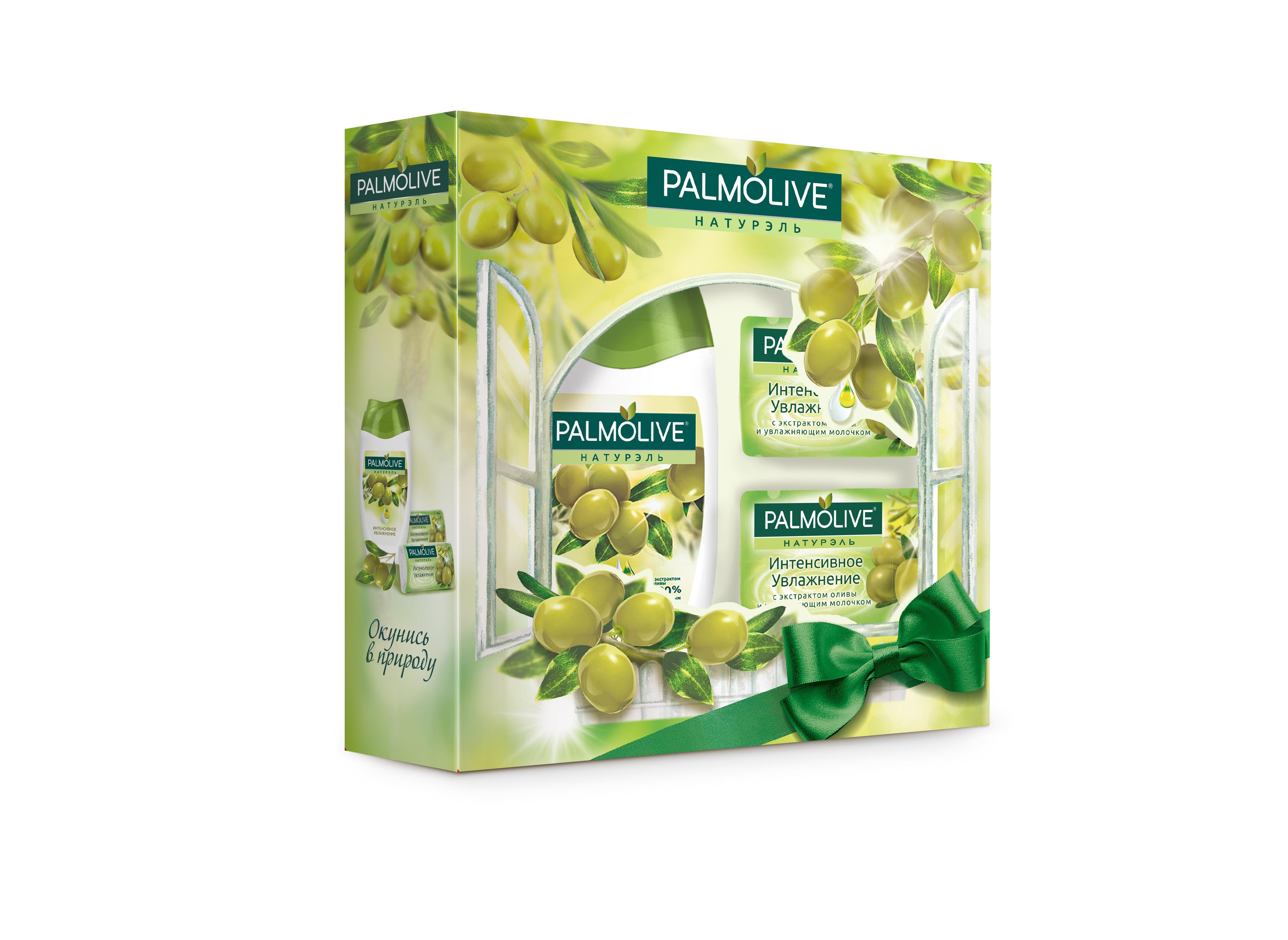 Подарочный набор Palmolive Натурэль Интенсивное Увлажнение с экстрактом оливы15032030Гель для душа Олива 250мл - 1шт, кусковое мыло Олива 2шт - 2шт в коробке