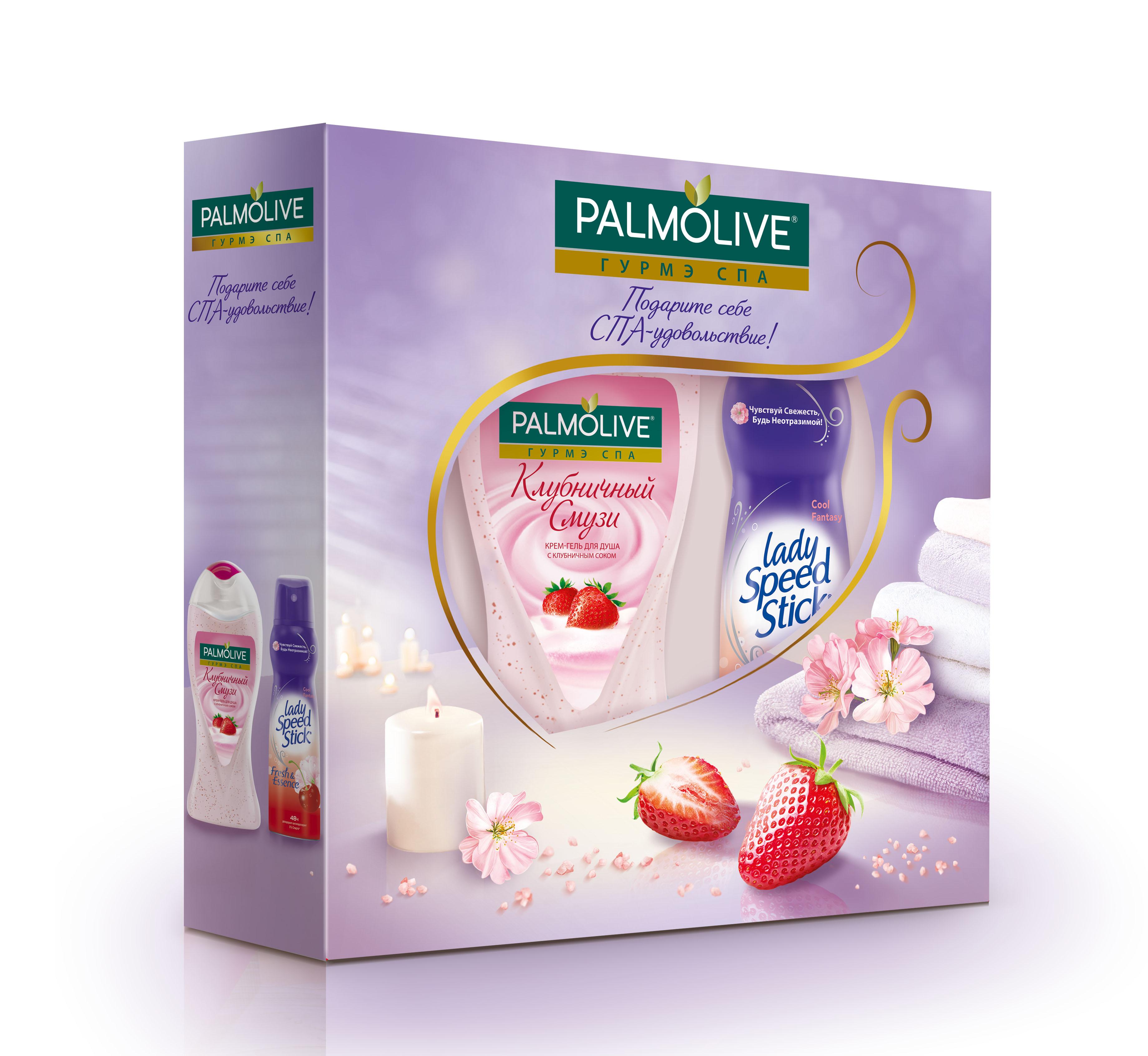 Подарочный набор Palmolive СПА-удовольствие1301210Гель для душа Клубничный Смузи 250мл - 1шт, спрей Леди Спид Стик Вишня 150мл - 1шт в коробке