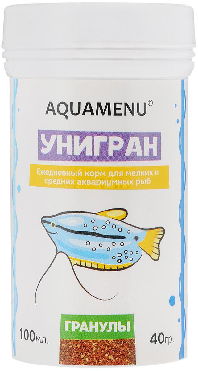Корм Aquamenu Унигран для мелких и средних аквариумных рыб, 40 г62947Хлопьевидный корм Aquamenu Унигран предназначен для ежедневного кормления большинства видов аквариумных рыб. Корм производится по современной технологии из натуральных продуктов животного и растительного происхождения методом инфракрасной сушки. Связующие ингредиенты делают корм более экзотичным, ограничивая вымывание питательных веществ, аминокислот и витаминов во время пребывания в воде. Aquamenu Унигран предназначен для ежедневного кормления большинства видов аквариумных рыб: живородящих цихлид, харациновых, лабиринтовых, карповых, различных сомов и других рыб длиною 3-10 см.Состав: рыбная, пшеничная, соевая, травяная и водорослевая мука, крапива, микроэлементы, витамины A, B1, B2, B3, B4, B5, B6, B7, B8, B12, C, D3, E, K, H и специальные добавки.Товар сертифицирован.