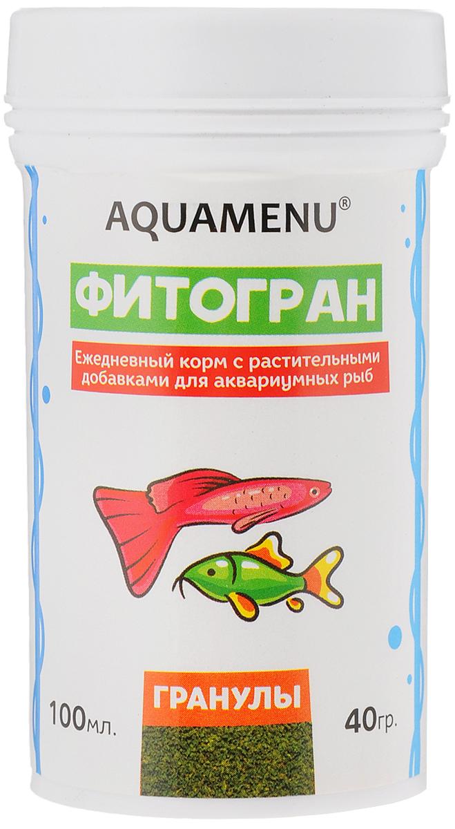 Корм Aquamenu Фитогран для аквариумных рыб, с растительными добавками, 100 мл (40 г)0120710Aquamenu Фитогран - сбалансированный по всем основным питательным веществам, витаминам и микроэлементам гранулированный корм. Производится из натуральных продуктов животного и растительного происхождения методом экструзии. Aquamenu Фитогран предназначен для ежедневного кормления большинства преимущественно растительноядных видов аквариумных рыб: живородящих, карпозубых, карповых, многих харациновых, лабиринтовых, сомов, африканских цихлид и других рыб длиною 3-10 см.Состав: рыбная, пшеничная, соевая, травяная и водорослевая мука, крапива, микроэлементы, витамины A, B1, B2, B3, B4, B5, B6, B7, B8, B12, C, D3, E, K, Н и специальные добавки.Товар сертифицирован.