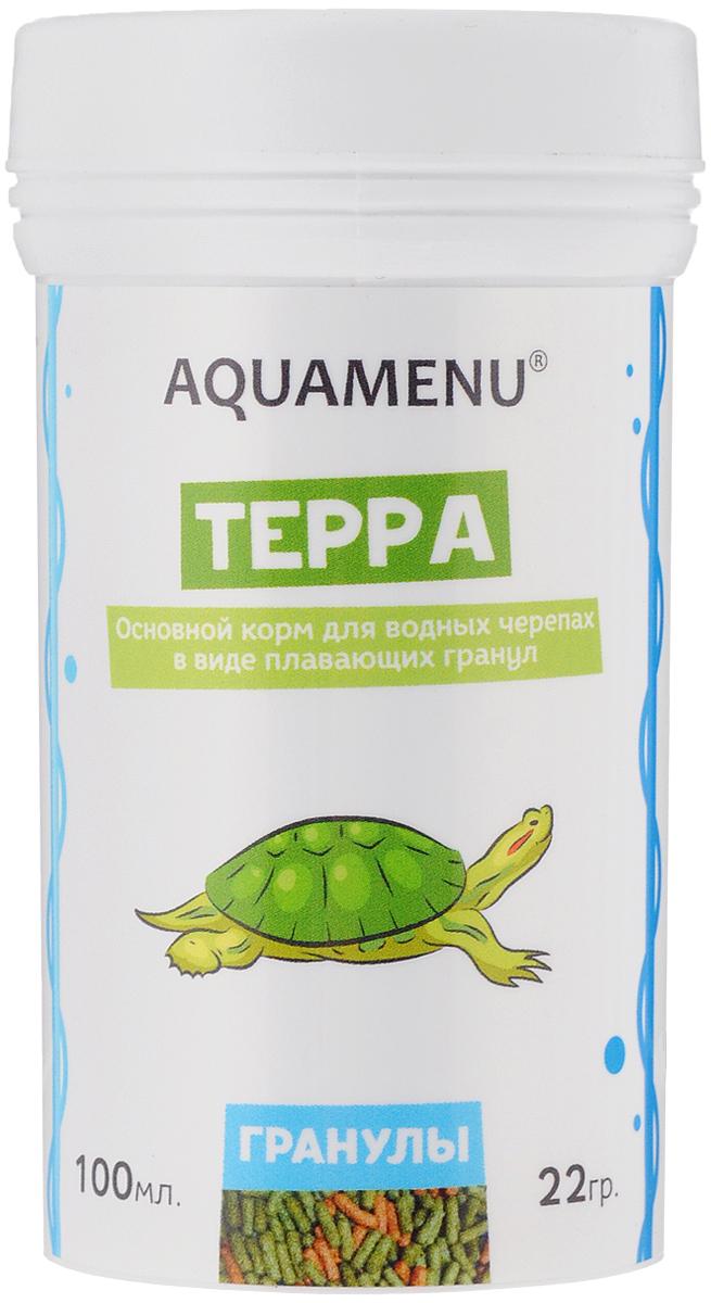 Корм Aquamenu Терра, для водных черепах, 100 мл (22 г)0120710Корм Aquamenu Терра - это основной корм в виде плавающих гранул для водных черепах. Корм изготовлен по современной экструзионной технологии из натуральных высококачественных продуктов животного и растительного происхождения. Содержит водоросли, комплекс витаминов и минералов, стабилизированную аскорбиновую кислоту. Специальные минеральные и органические добавки укрепляют иммунитет и способствуют сохранению скелета и панциря ваших питомцев.Товар сертифицирован.