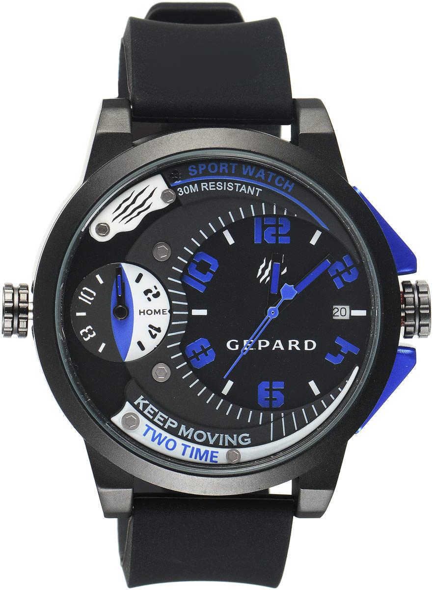 Наручные часы мужские Gepard, цвет: черный, синий. 1221A11L3BM8434-58AEНаручные часы Gepard выполнены из металла и минерального стекла. Циферблат оформлен символикой бренда. Корпус часов оформлен матовой поверхностью с весьма оригинальным циферблатом. Часы оснащены кварцевым механизмом, дополнены устойчивым к царапинам минеральным стеклом. Ремешок выполнен из силикона и оснащен пряжкой, благодаря которой можно с легкостью снимать и надевать изделие.