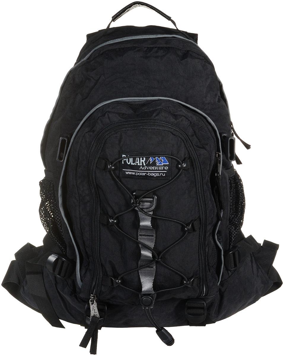 Рюкзак городской Polar Adventure, цвет: черный, 27 л33101_3218Polar Adventure - это городской рюкзак с модным дизайном. Полностью вентилируемая и удобная мягкая спинка, мягкие плечевые лямки создают дополнительный комфорт при ношении.Особенности:- центральный отсек для персональных вещей и документов A4 на двухсторонних молниях для удобства,- маленький карман для mp3, CD плеера,- петли для снаряжения дают возможность крепления на рюкзак дополнительного оборудования,- два боковых кармана под бутылки с водой на резинке,- регулирующая грудная стяжка с удобным фиксатором. Регулирующий поясной ремень, удерживает рюкзак на спине, что очень удобно при езде на велосипеде или продолжительных походах.Данная модель выполнена из полиэстера с водоотталкивающей пропиткой и прослужит вам долгие годы.