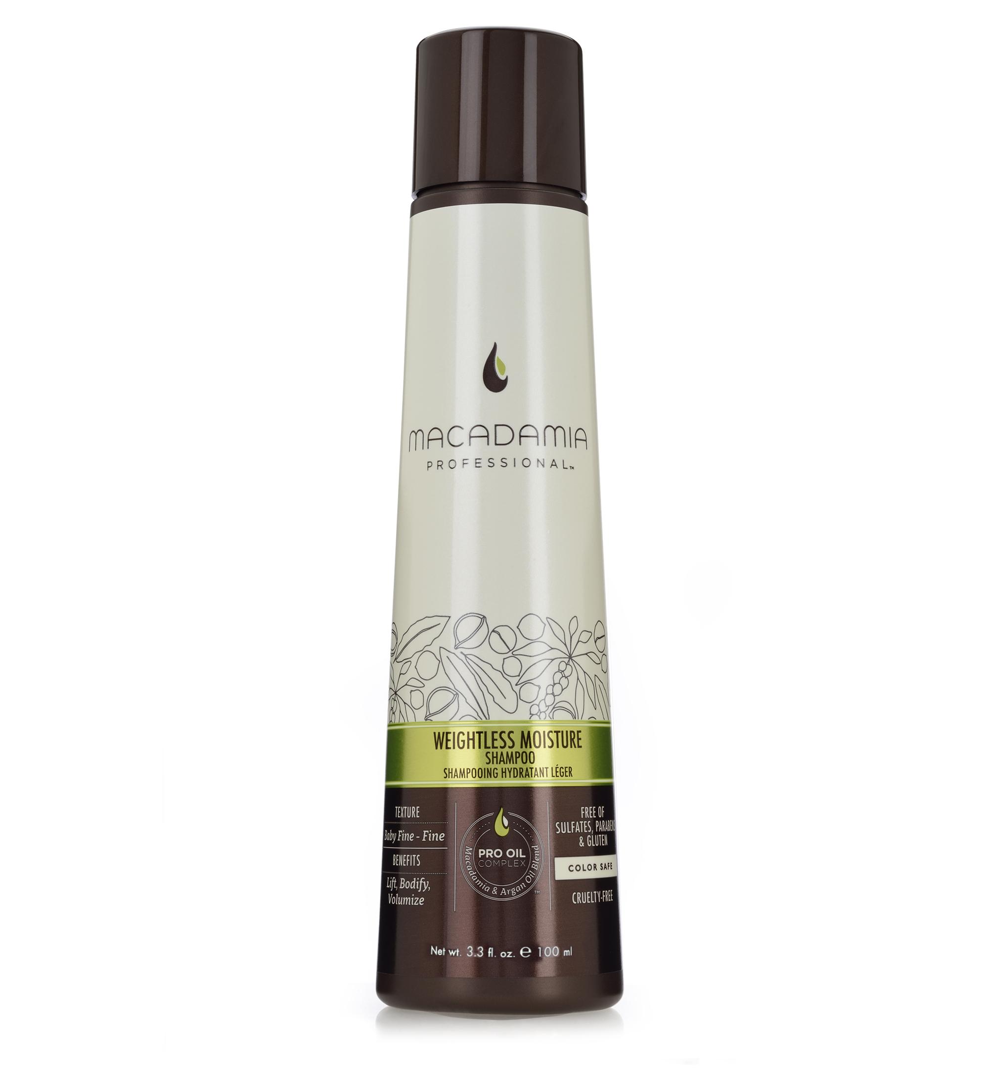 Macadamia Professional Шампунь увлажняющий для тонких волос,100 млA9028328Увлажняющий шампунь Macadamia Professional восстанавливает баланс влаги, придает плотность и объем даже самым тонким волосам. Содержит эксклюзивный Pro Oil Complex с маслами макадамии и арганы, масла авокадо и лесного ореха, которые обеспечивают увлажнение и восстановление, увеличивают плотность тонких волос, питают кожу головы. Содержит UVA/UVB фильтры, сохраняет цвет окрашенных волос. Защищает от воздействия неблагоприятных факторов окружающей среды.