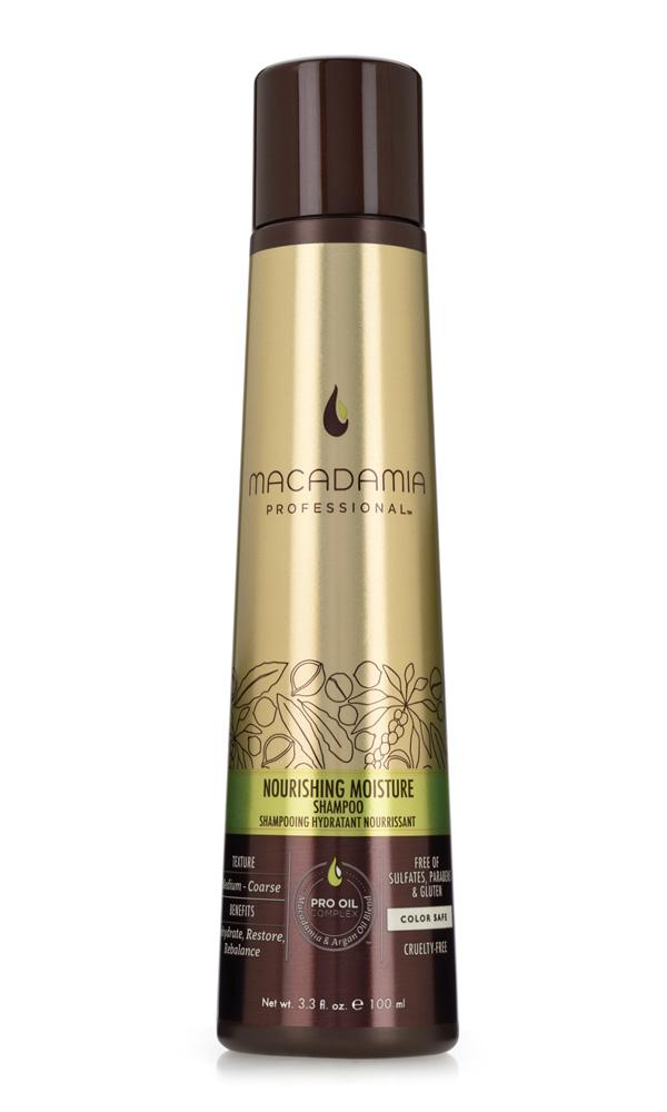 Macadamia Professional Шампунь питательный для всех типов волос, 100 мл7222193000Шампунь Macadamia Professional обеспечивает сбалансированное питание, восстанавливает баланс влажности нормальных и сухих волос. Эксклюзивный комплекс Pro Oil Complex с маслами макадамии и арганы дает увлажнение, укрепление и восстановление волос. Масла авокадо, лесного ореха и витамины А, С, Е обеспечивают антивозрастной уход. Применение шампуня защищает волосы от воздействия неблагоприятных факторов окружающей среды.