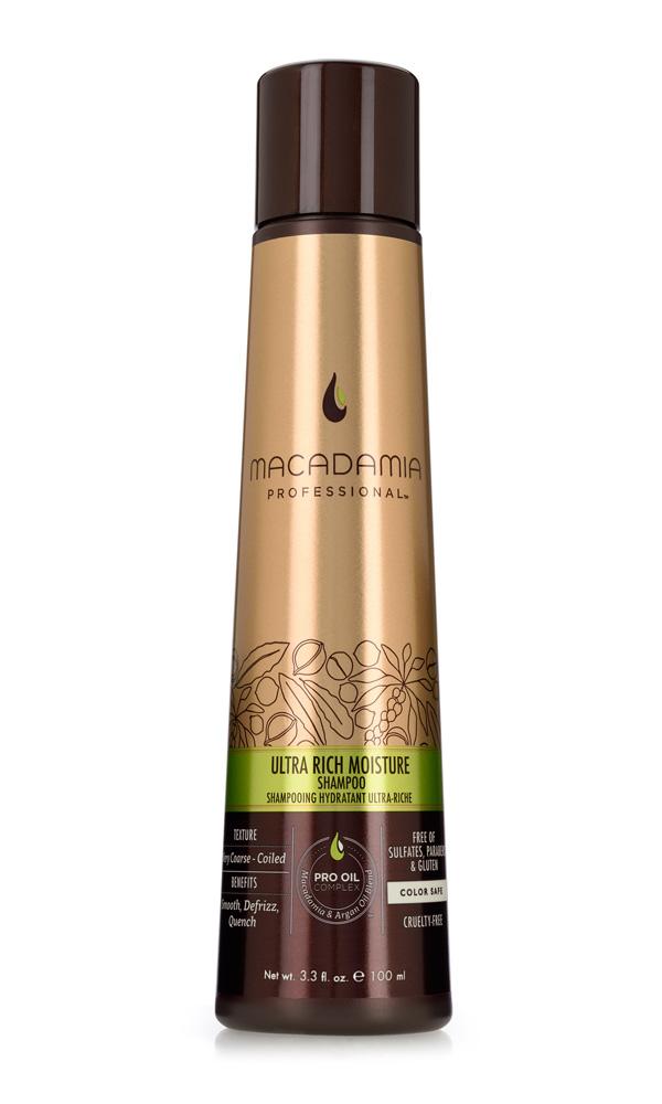 Macadamia Professional Шампунь увлажняющий для жестких волос, 100 мл7222193000Шампунь Macadamia Professional обеспечивает глубокое увлажнение волос и кожи головы благодаря сочетанию эксклюзивного комплекса Pro Oil Complex, масел авокадо и монгонго. Убирает эффект пушистости, делает волосы мягкими. Содержит UVA/UVB фильтры, сохраняя цвет окрашенных волос. Защищает волосы от неблагоприятных факторов окружающей среды.