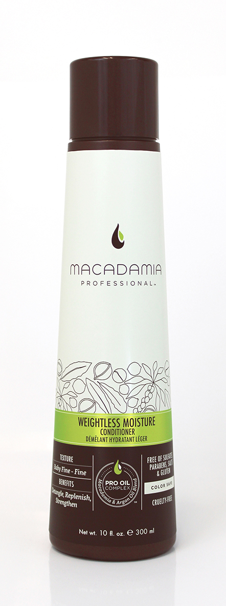 Macadamia Professional Кондиционер увлажняющий для тонких волос, 300 мл7221195000Ультра легкая формула кондиционера Macadamia Professional не утяжеляет тонкие волосы. Эксклюзивный комплекс Pro Oil Complex с маслами макадамии и арганы придает гладкость, плотность и объем тонким волосам. Насыщен питательными маслами авокадо, грецкого ореха, обеспечивает шелковистость, мягкость, блеск и защиту от негативного действия УФ-лучей. Сочетание коллагена и витаминов А, С и Е придает волосам прочность.